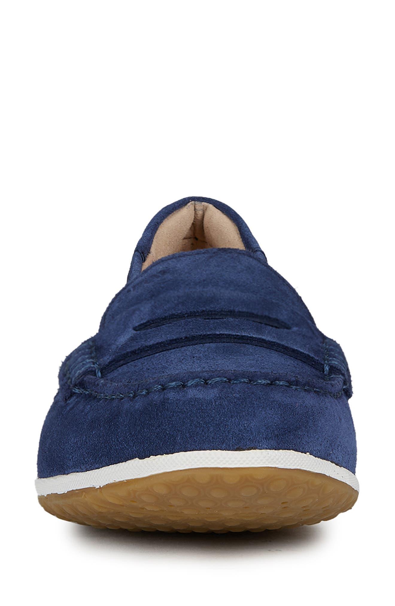 GEOX, Vega Moc Loafer, Alternate thumbnail 4, color, BLUE SUEDE
