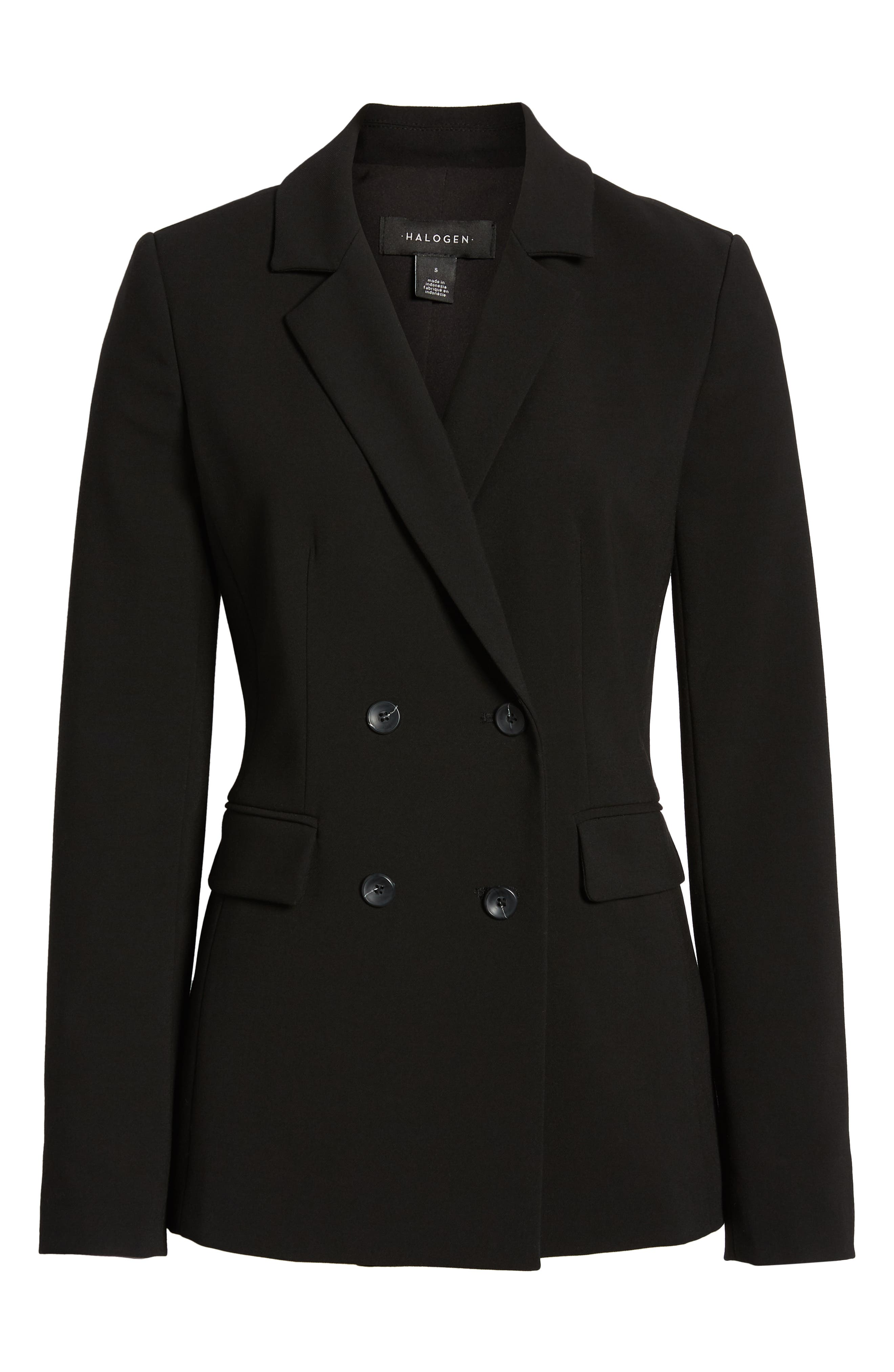 HALOGEN<SUP>®</SUP>, Double Breasted Blazer, Alternate thumbnail 6, color, BLACK