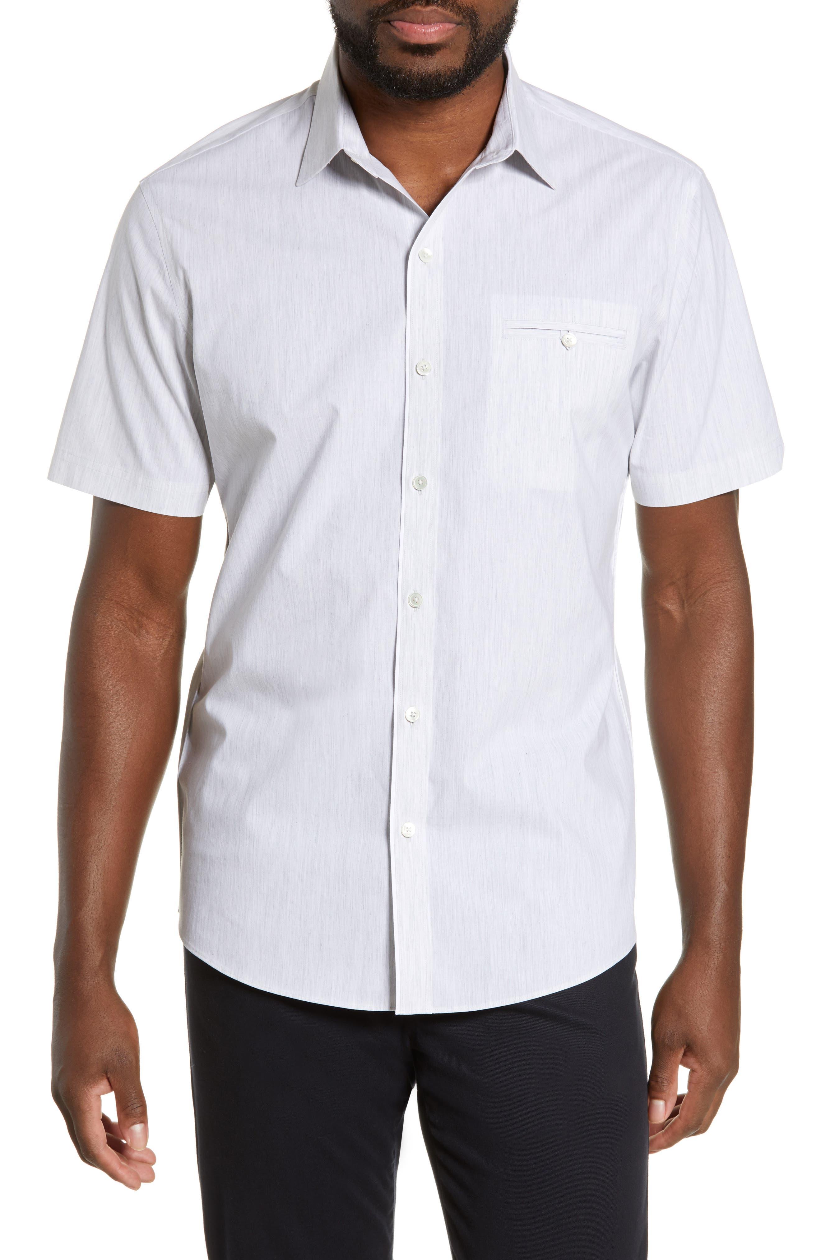 ZACHARY PRELL, Baumann Regular Fit Sport Shirt, Main thumbnail 1, color, GREY