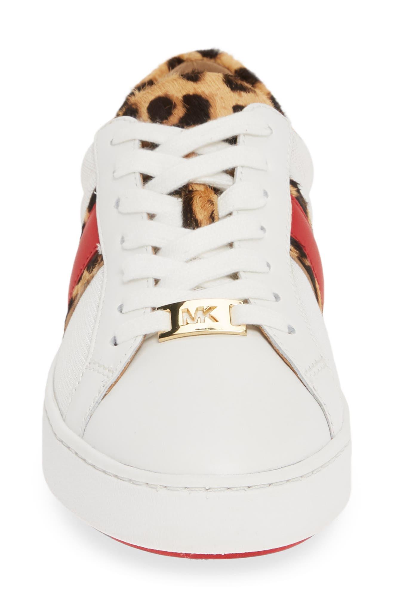 MICHAEL MICHAEL KORS, Irving Stripe Sneaker, Alternate thumbnail 4, color, OPTIC WHITE/ NATURAL