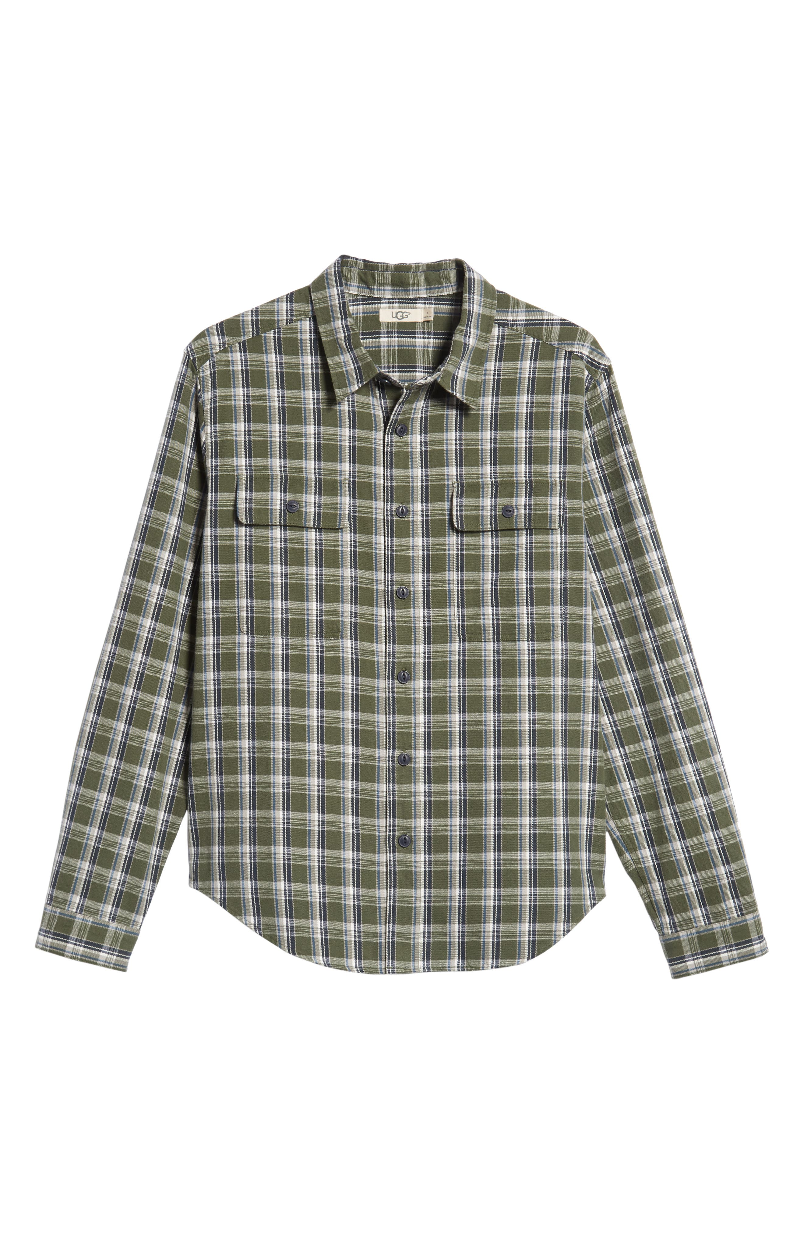 UGG<SUP>®</SUP>, Anders Flannel Sport Shirt, Alternate thumbnail 5, color, ARMY GREEN PLAID