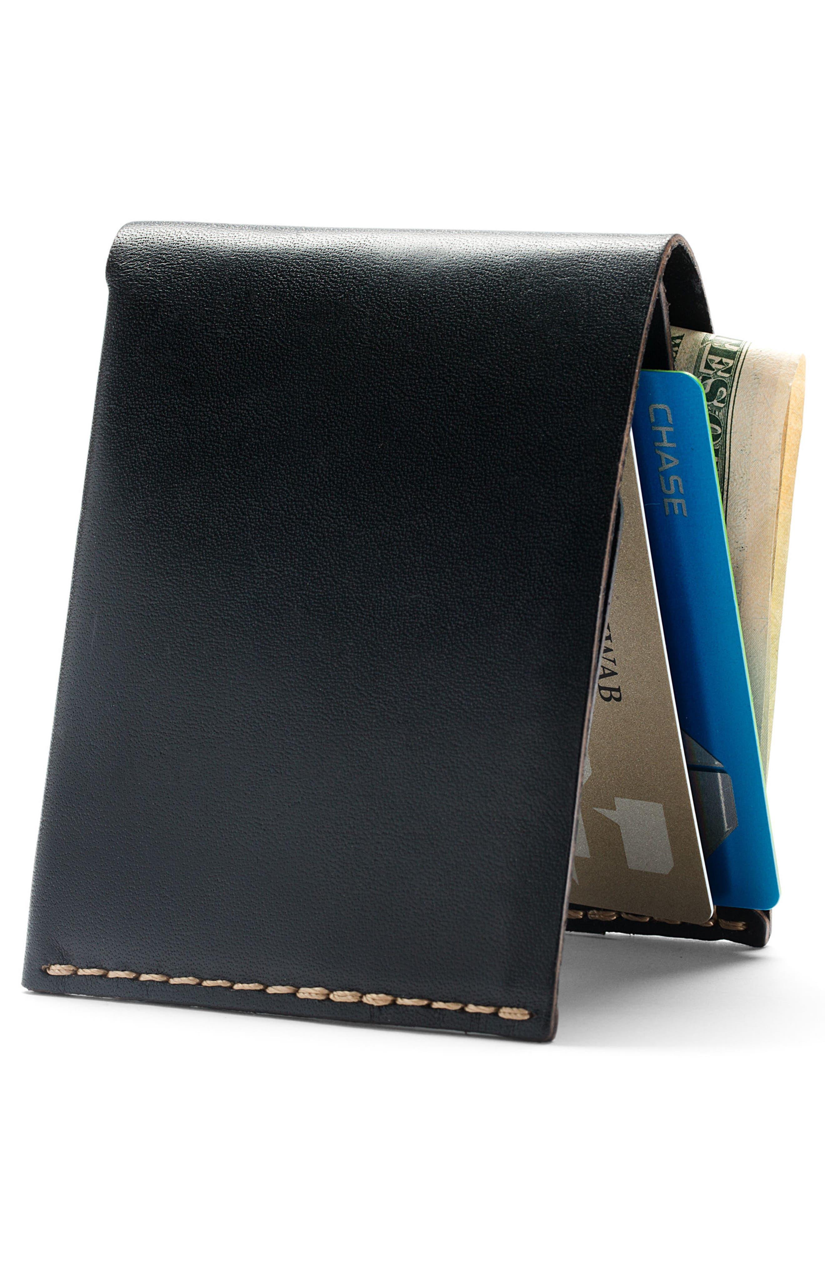 EZRA ARTHUR, No. 6 Leather Wallet, Alternate thumbnail 2, color, JET TOP STITCH