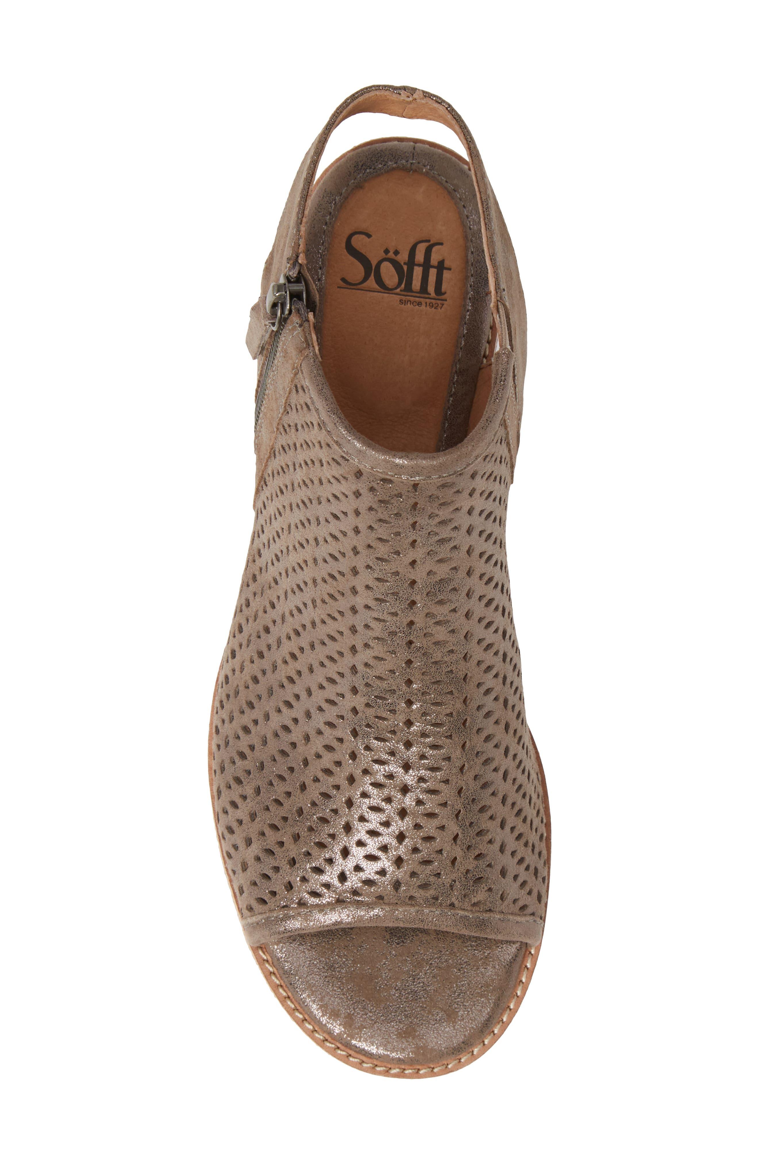 SÖFFT, Natesa Perforated Sandal, Alternate thumbnail 5, color, SMOKE SUEDE