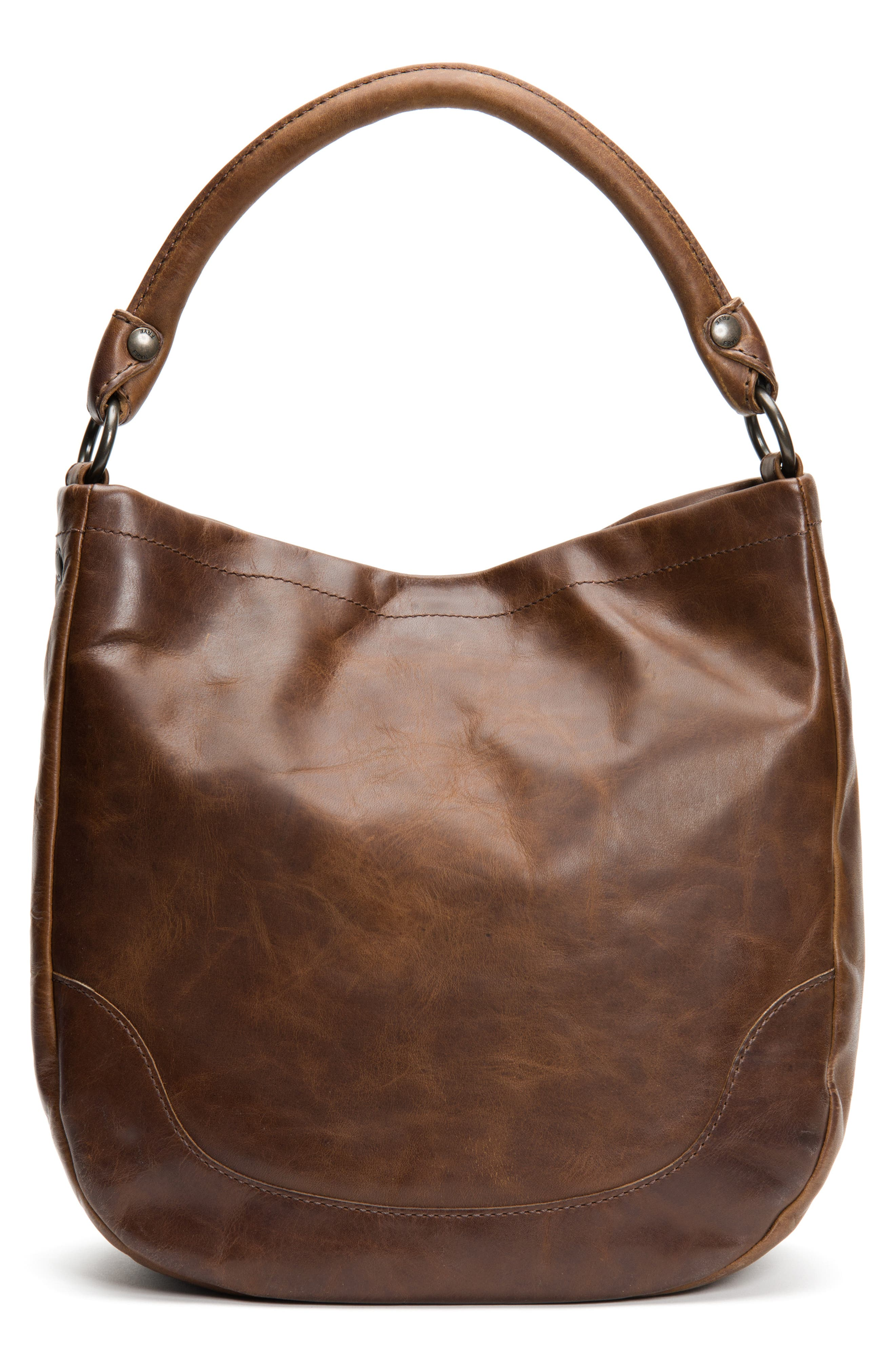 FRYE, Melissa Leather Hobo, Alternate thumbnail 4, color, DARK BROWN