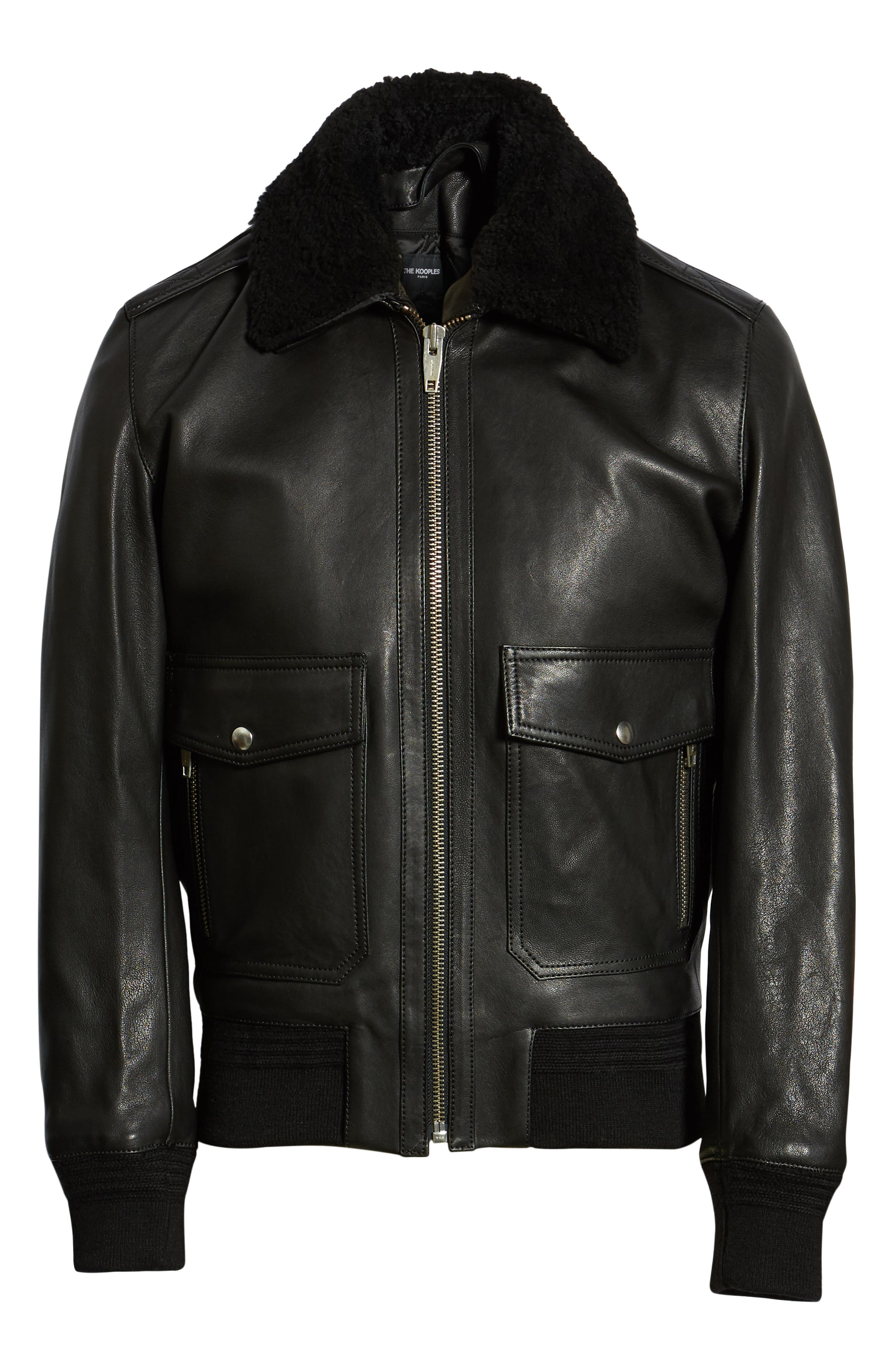 THE KOOPLES, Teddy Leather Jacket with Removable Genuine Lamb Shearling Trim, Alternate thumbnail 6, color, 001
