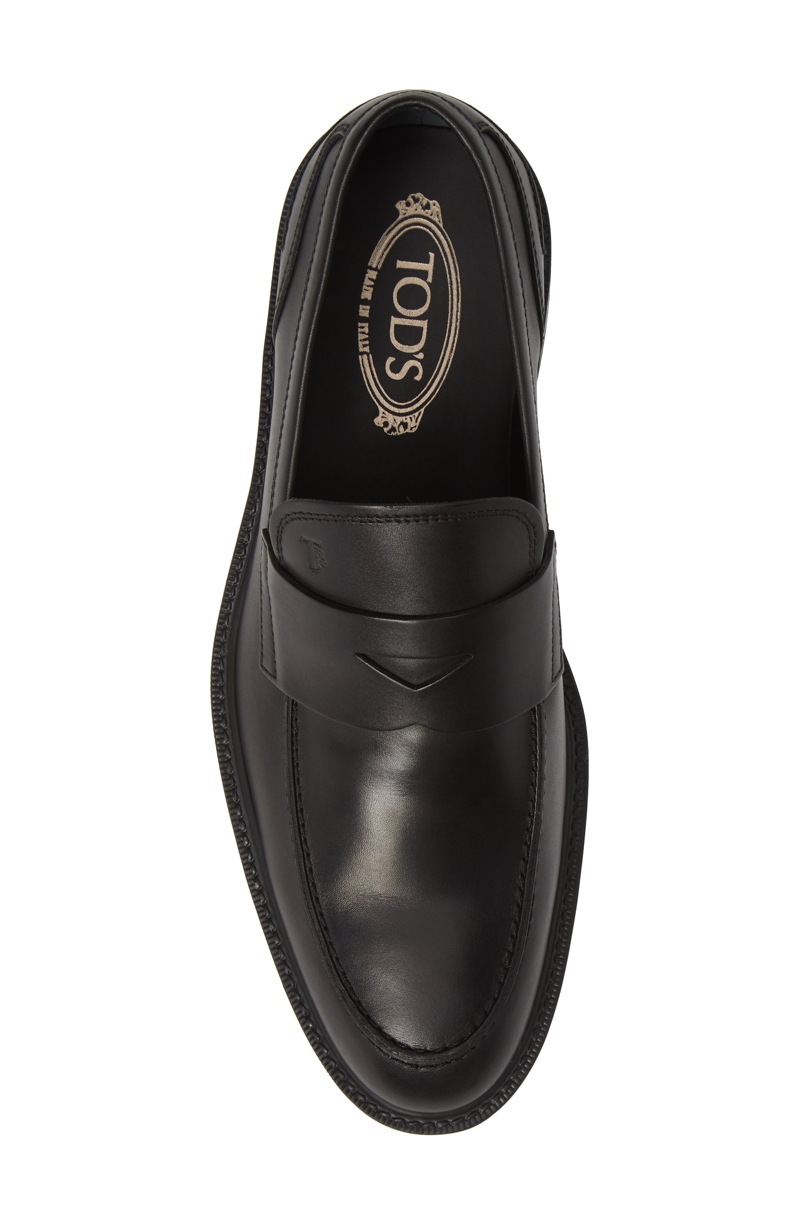 TOD'S, Mocassino Water Repellent Penny Loafer, Alternate thumbnail 5, color, BLACK/ BLACK