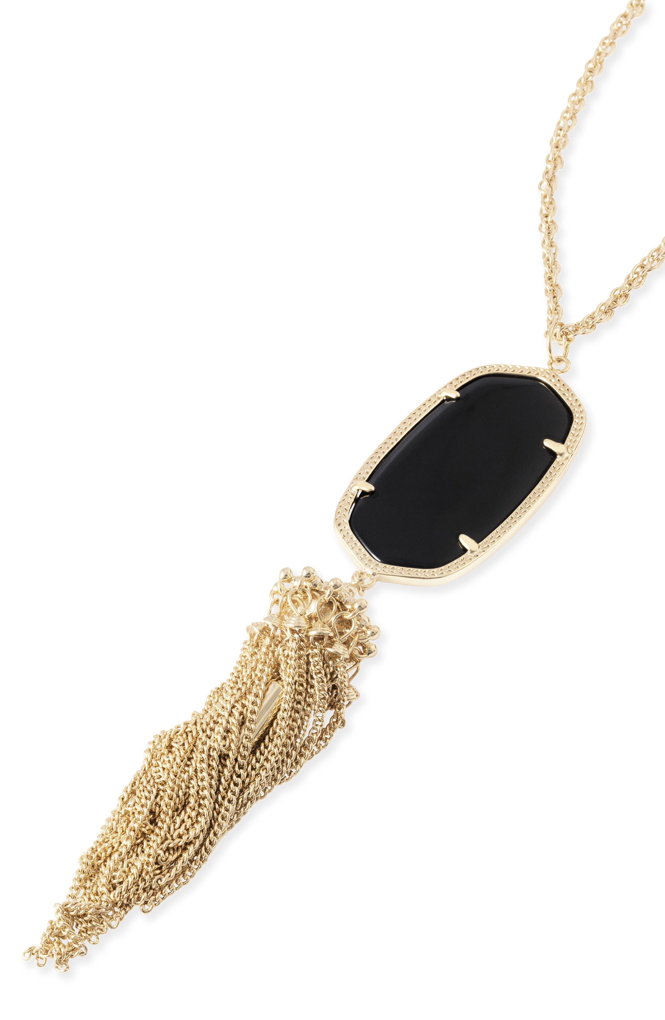 KENDRA SCOTT, Rayne Stone Tassel Pendant Necklace, Alternate thumbnail 5, color, 001