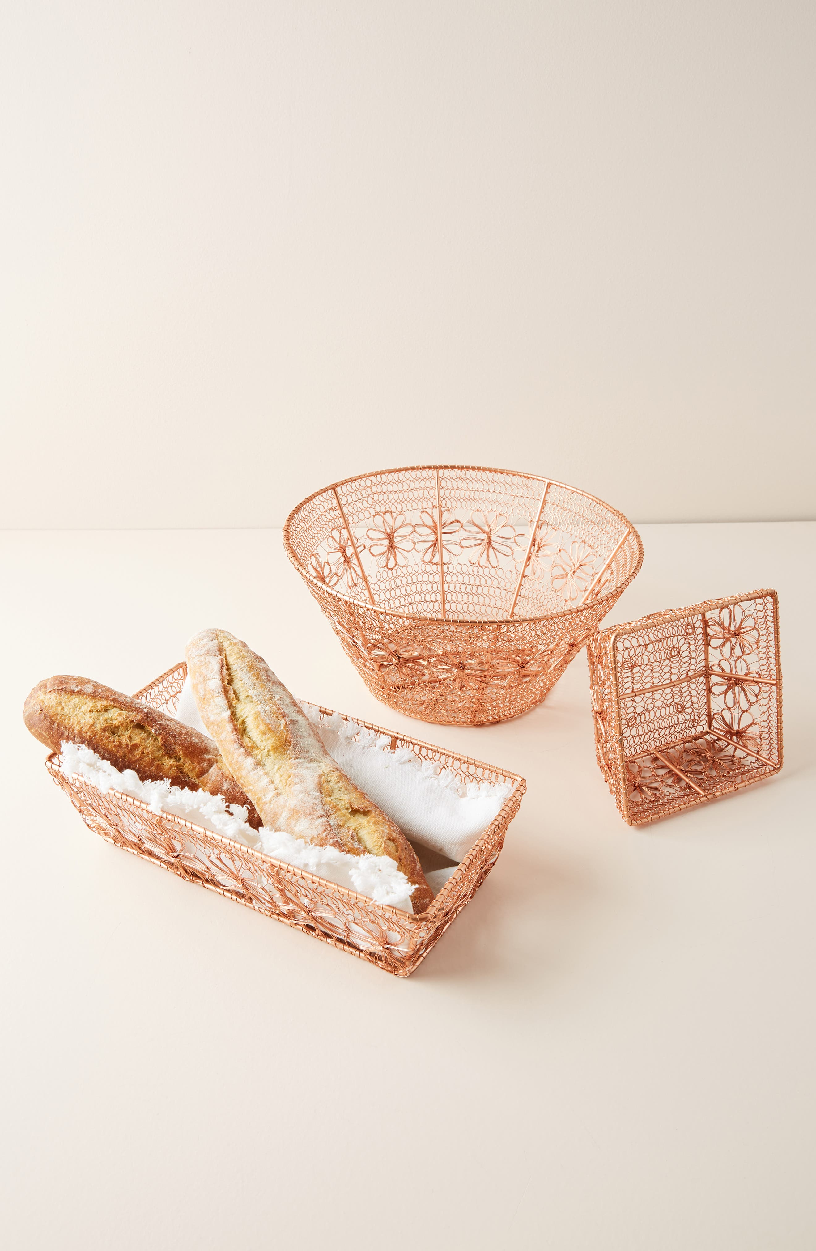 ANTHROPOLOGIE, Copper Floral Berry Basket, Alternate thumbnail 3, color, COPPER
