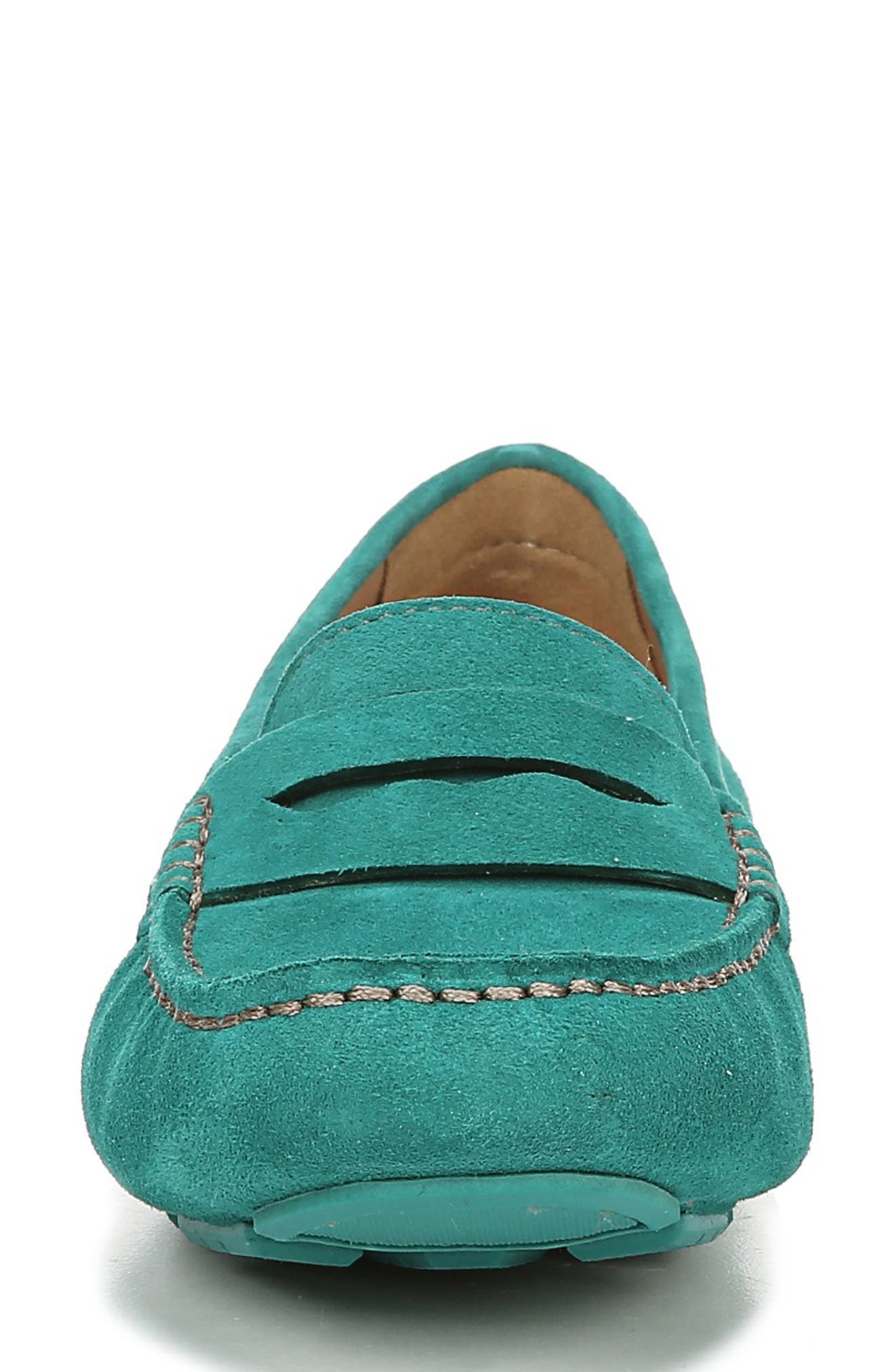 NATURALIZER, Natasha Driving Moccasin, Alternate thumbnail 4, color, TAHITI GREEN LEATHER