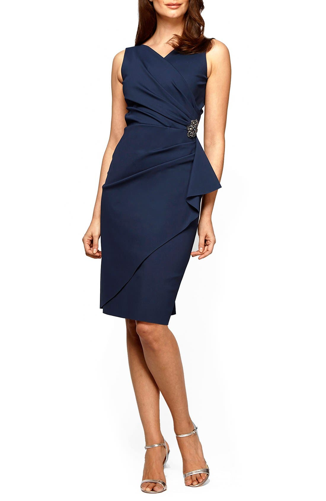 ALEX EVENINGS, Side Ruched Dress, Main thumbnail 1, color, NAVY