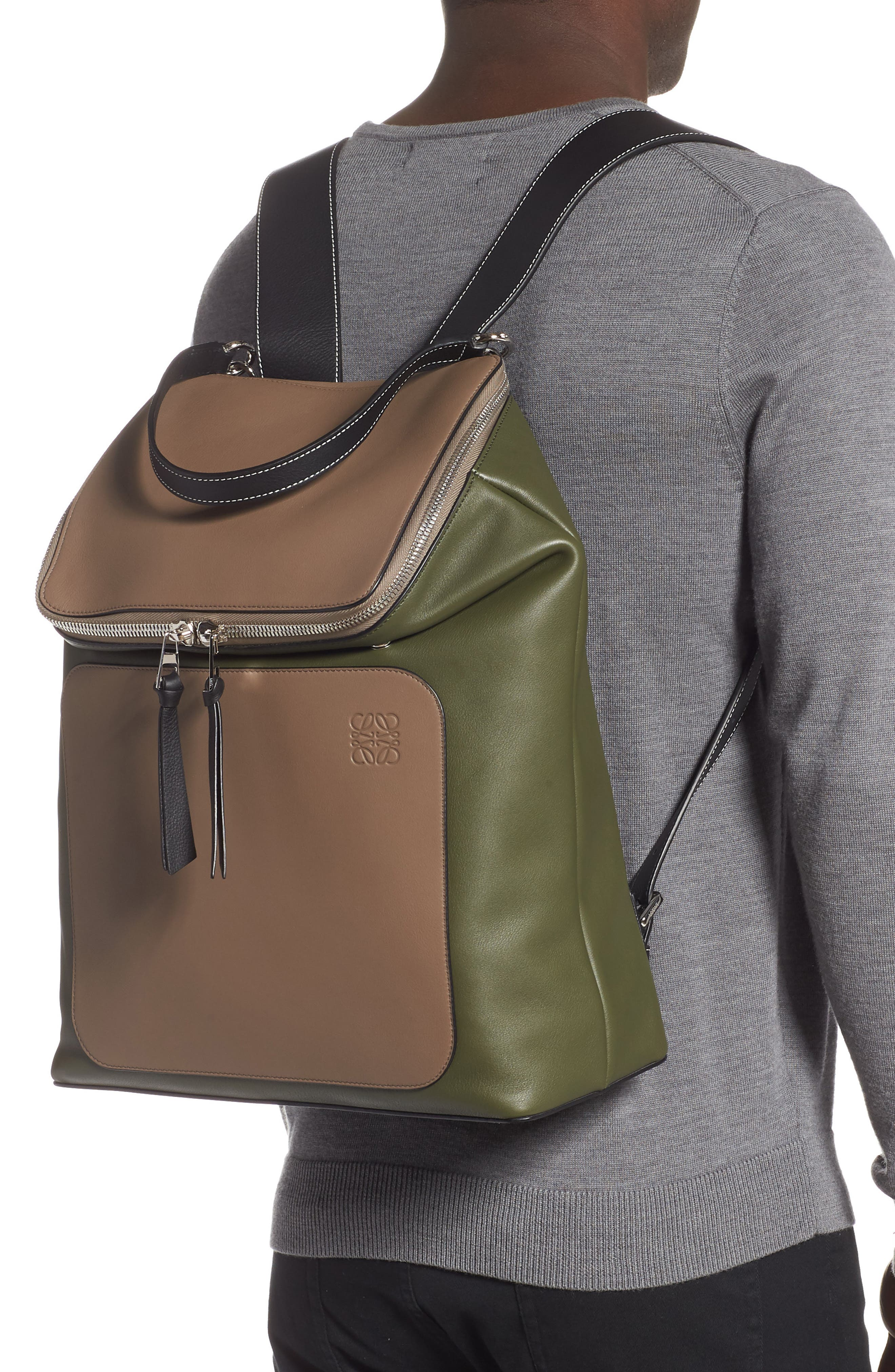 LOEWE, Goya Backpack, Alternate thumbnail 2, color, DARK TAUPE/ GREEN MILITARY