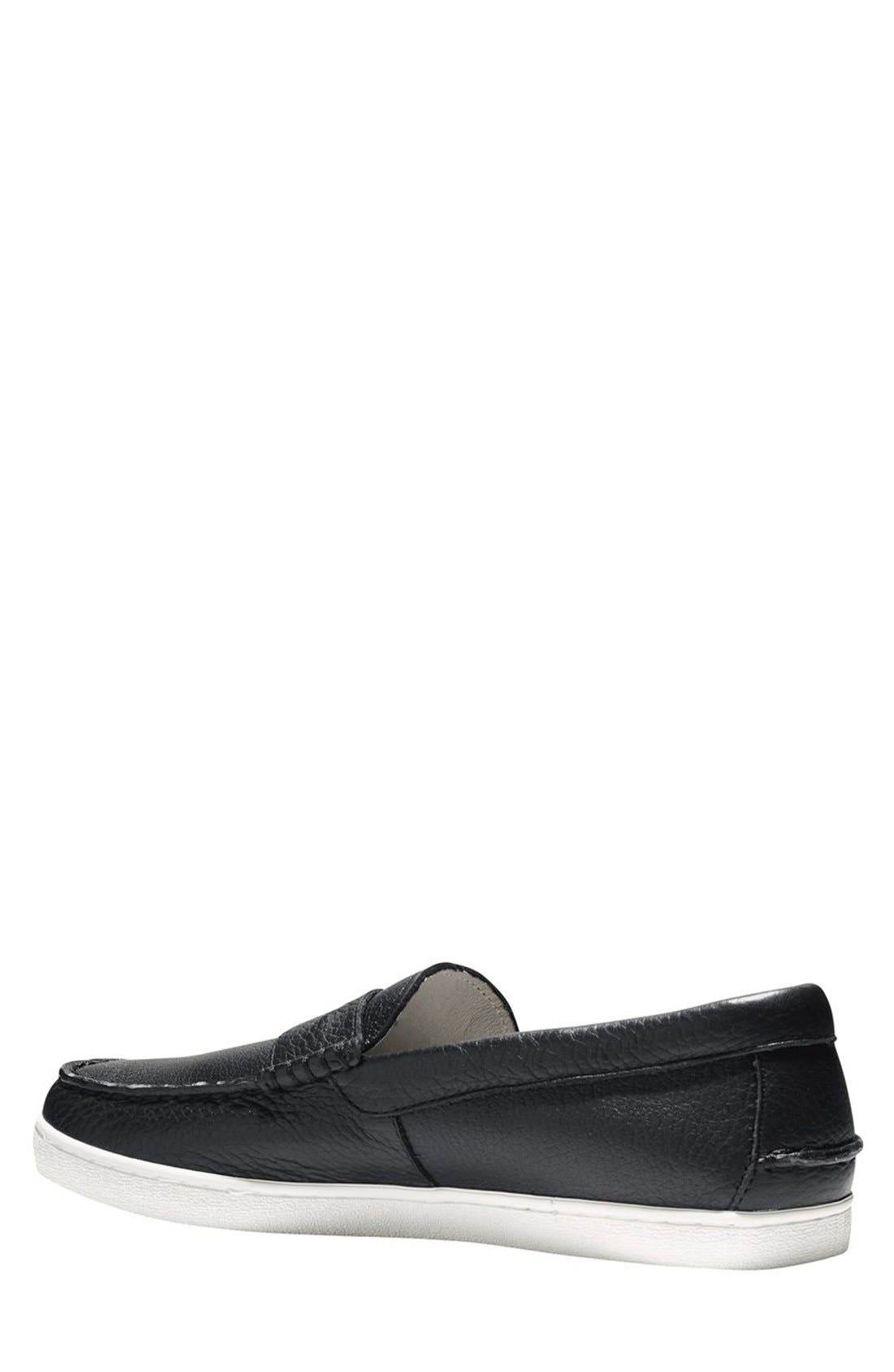 COLE HAAN, 'Pinch' Penny Loafer, Alternate thumbnail 7, color, BLACK LEATHER/ WHITE