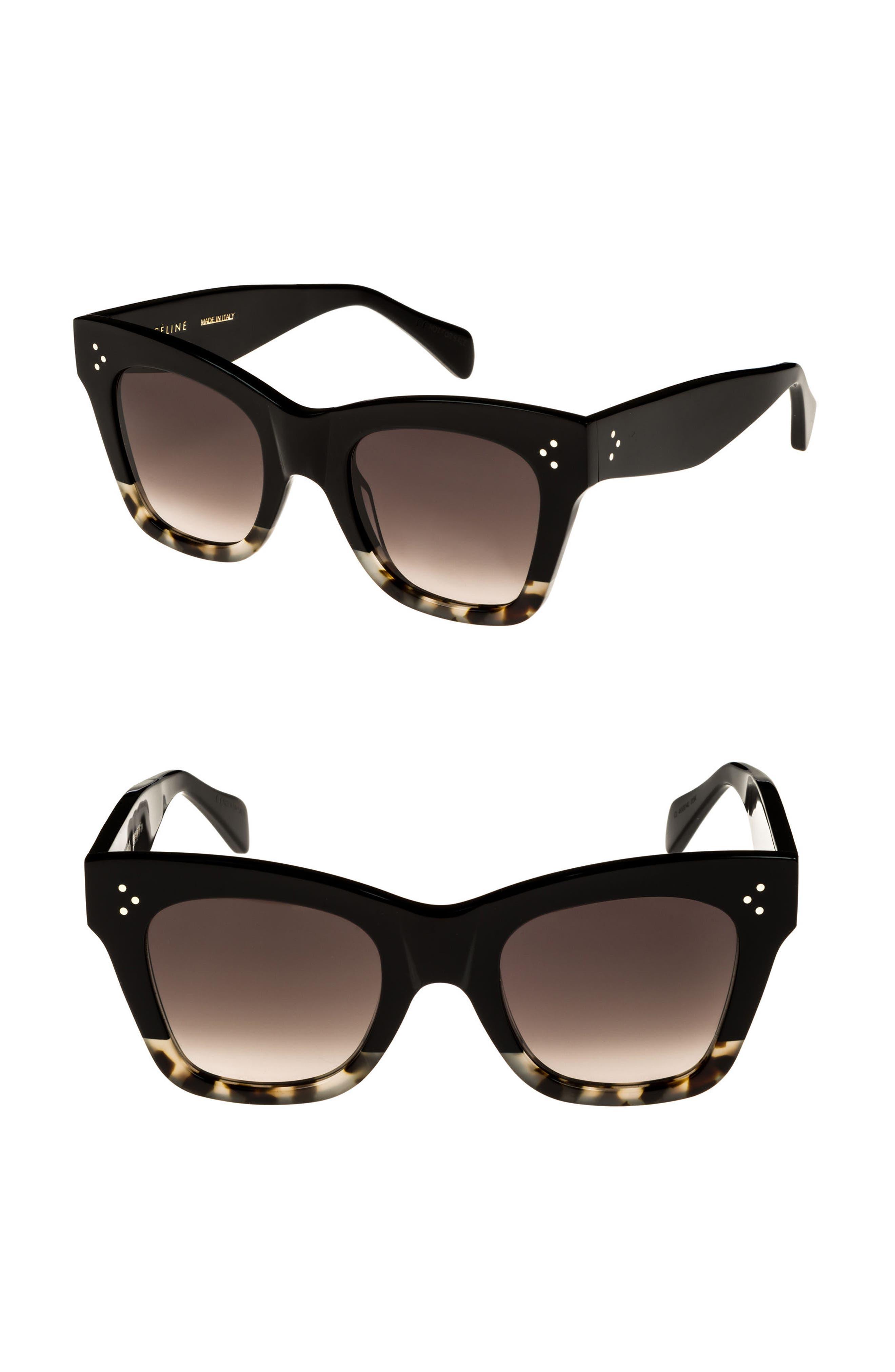 CELINE, 50mm Gradient Butterfly Sunglasses, Alternate thumbnail 2, color, BLACK/ GREY HAVANA/ BROWN