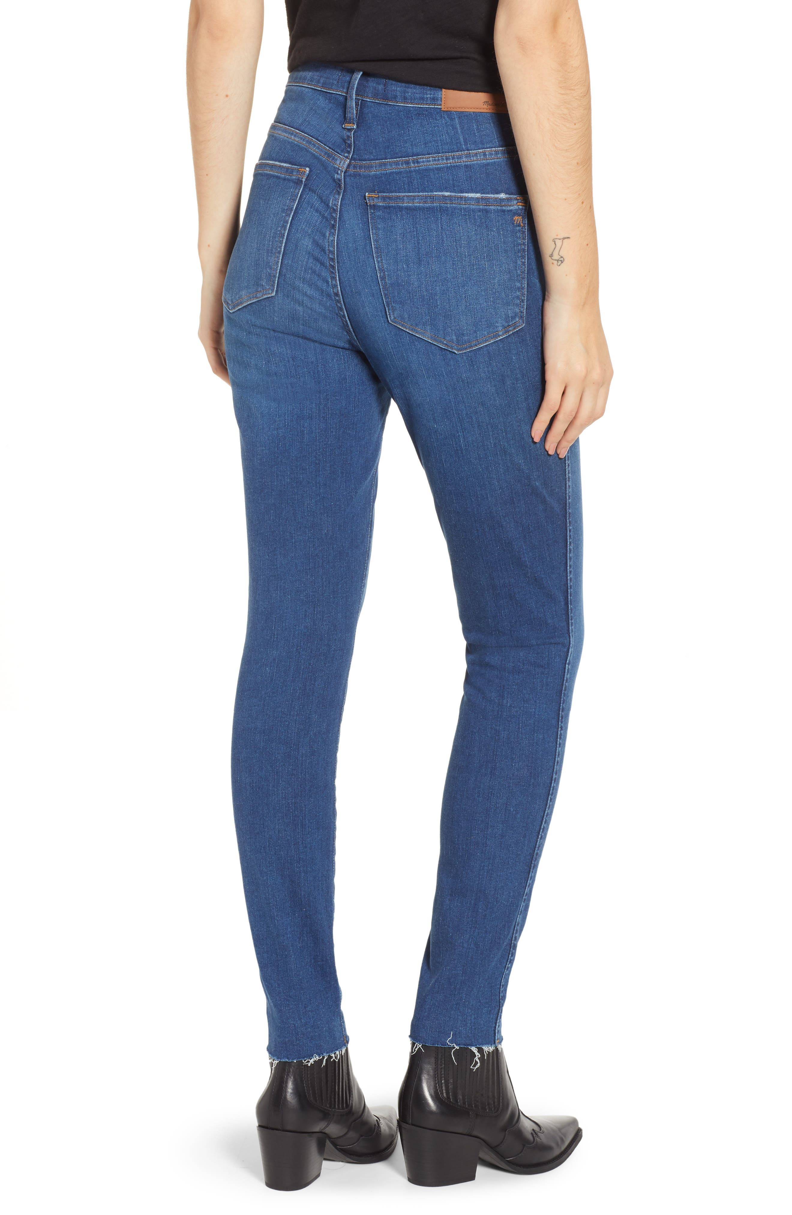 MADEWELL, 10-Inch High Rise Skinny Jeans, Alternate thumbnail 2, color, HANNA