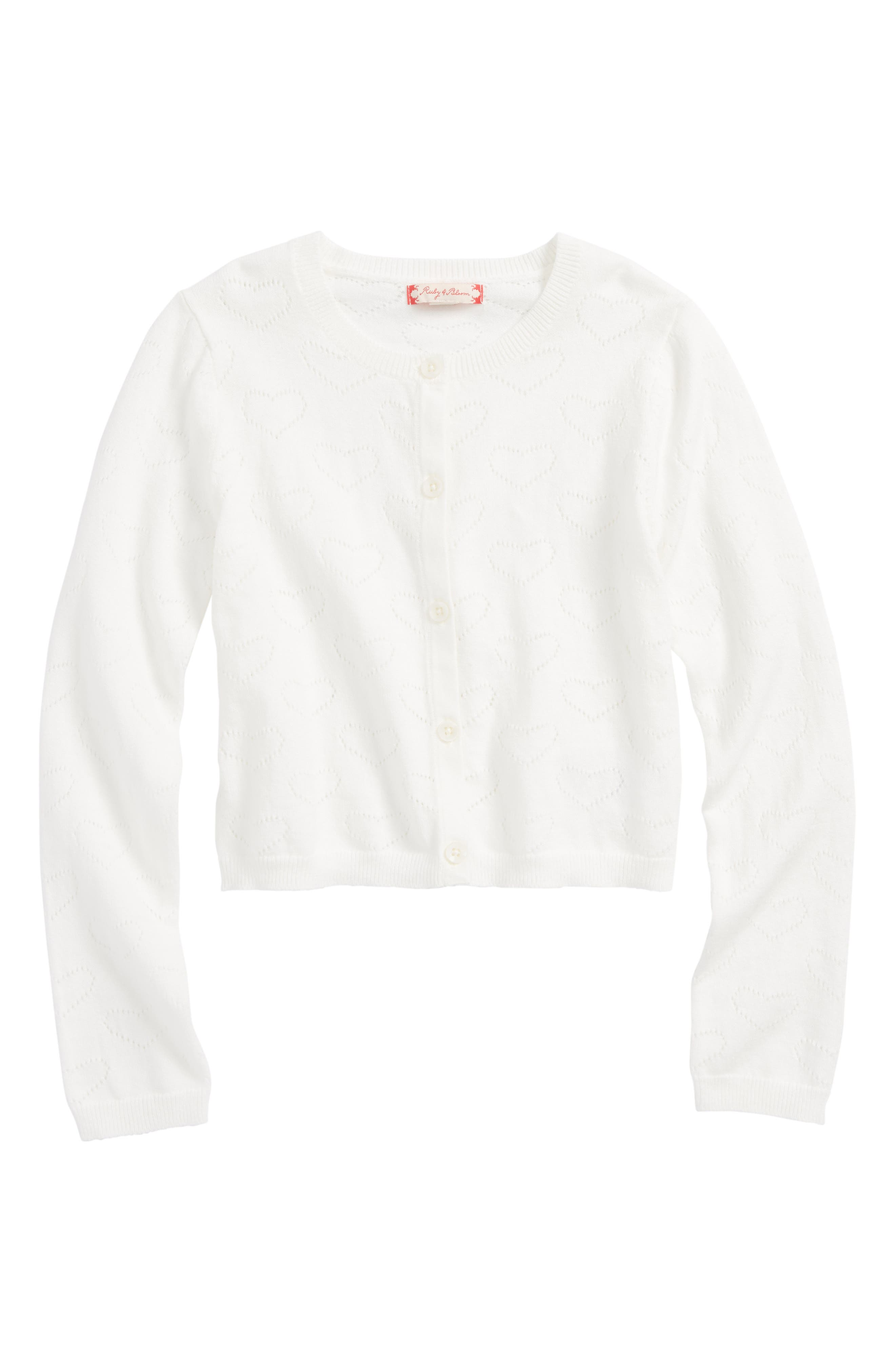 Toddler Girls Ruby  Bloom Heart Pointelle Knit Cardigan Size 3T  White