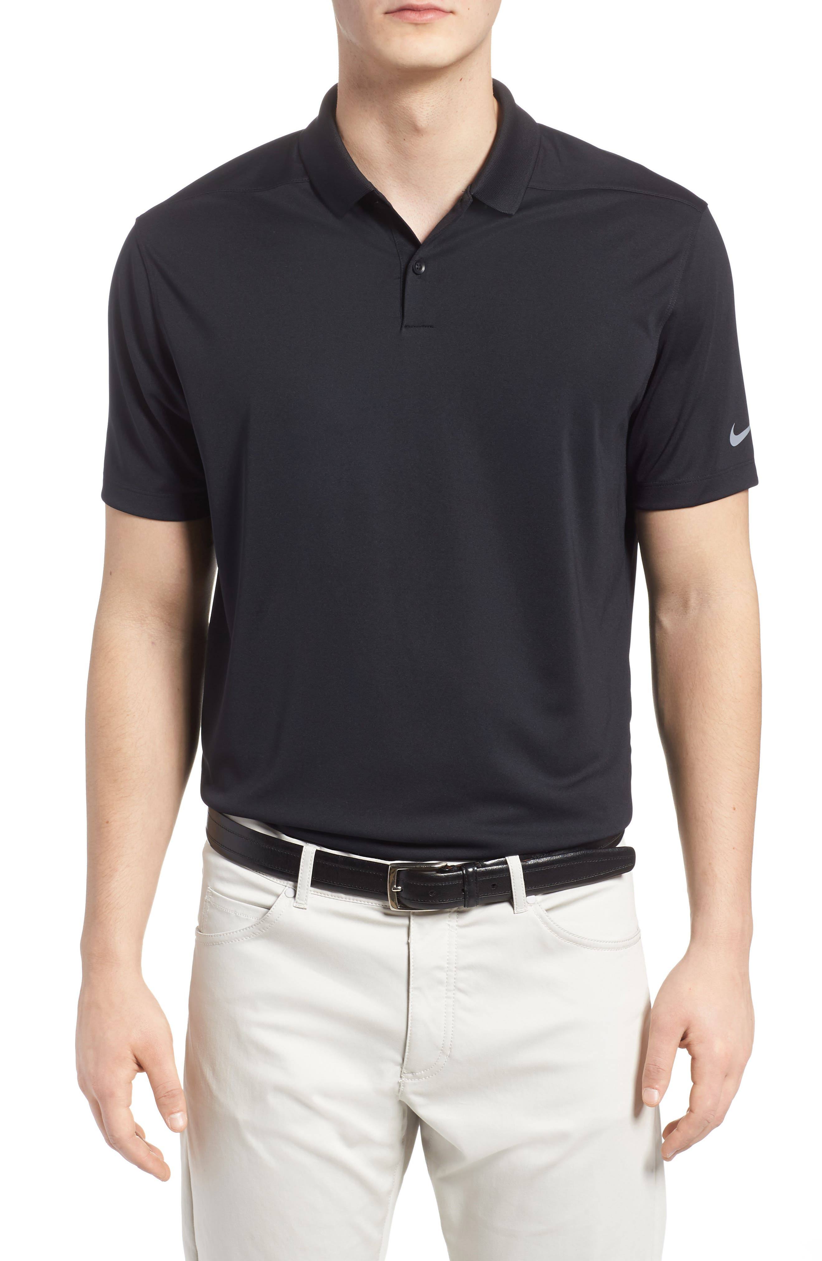 NIKE, Victory Dri-FIT Golf Polo, Main thumbnail 1, color, BLACK/ GUNSMOKE