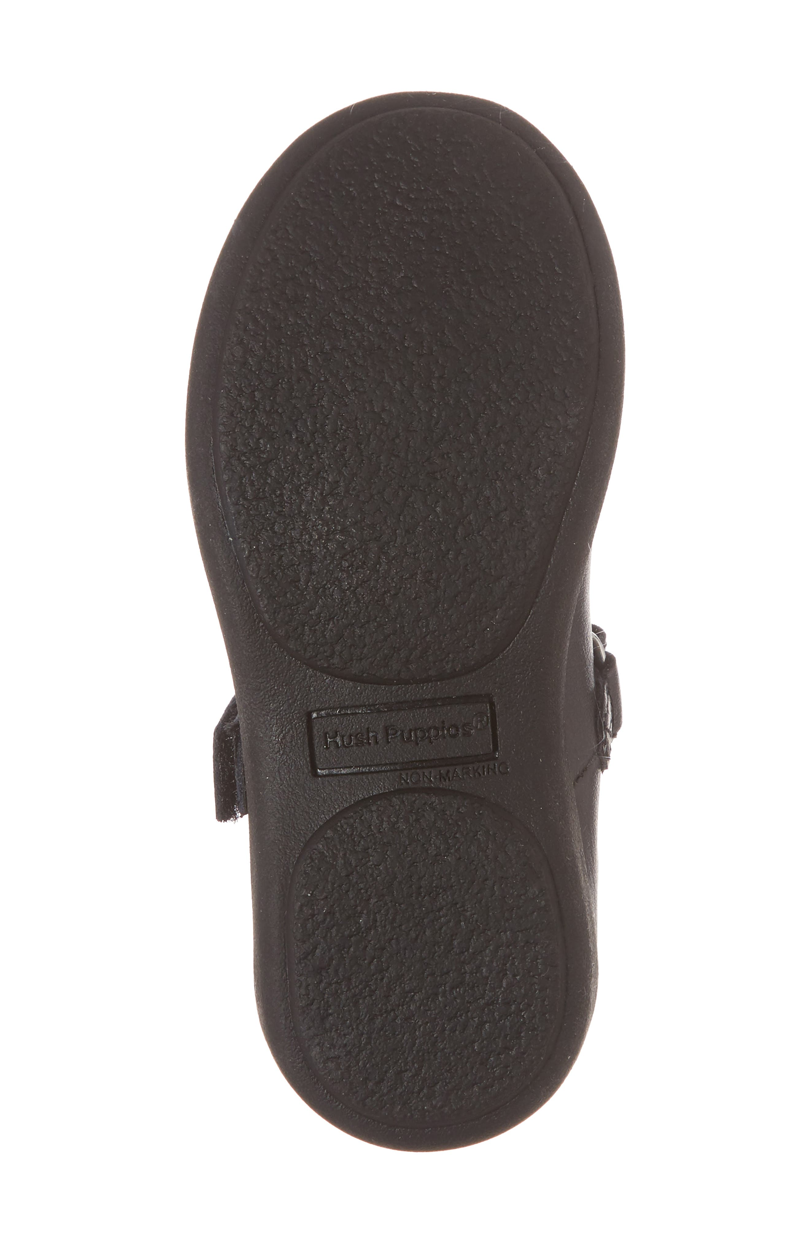 HUSH PUPPIES<SUP>®</SUP>, Lexi Mary Jane Flat, Alternate thumbnail 6, color, BLACK LEATHER