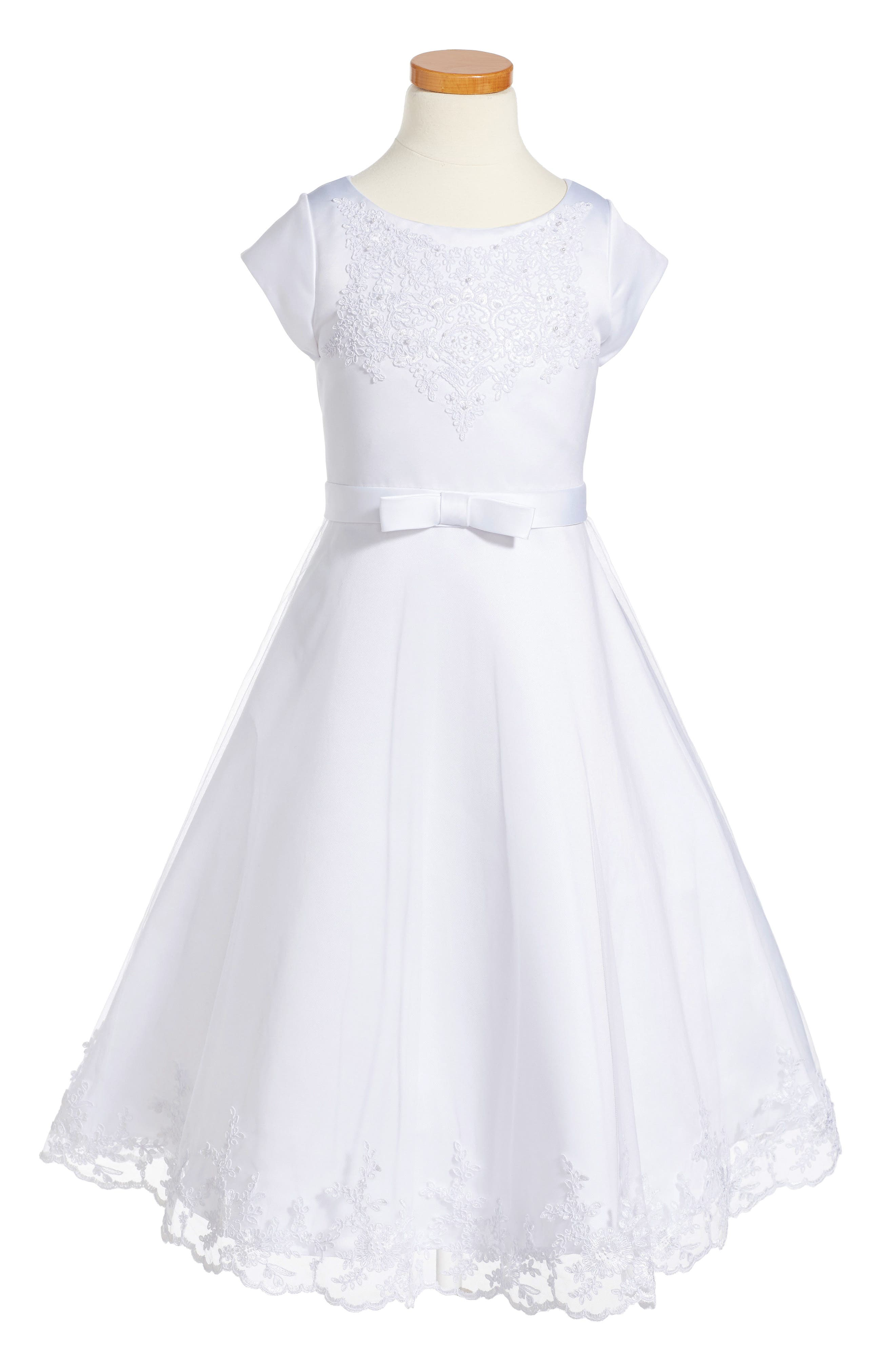 US ANGELS, Embroidered A-Line Dress, Alternate thumbnail 3, color, WHITE