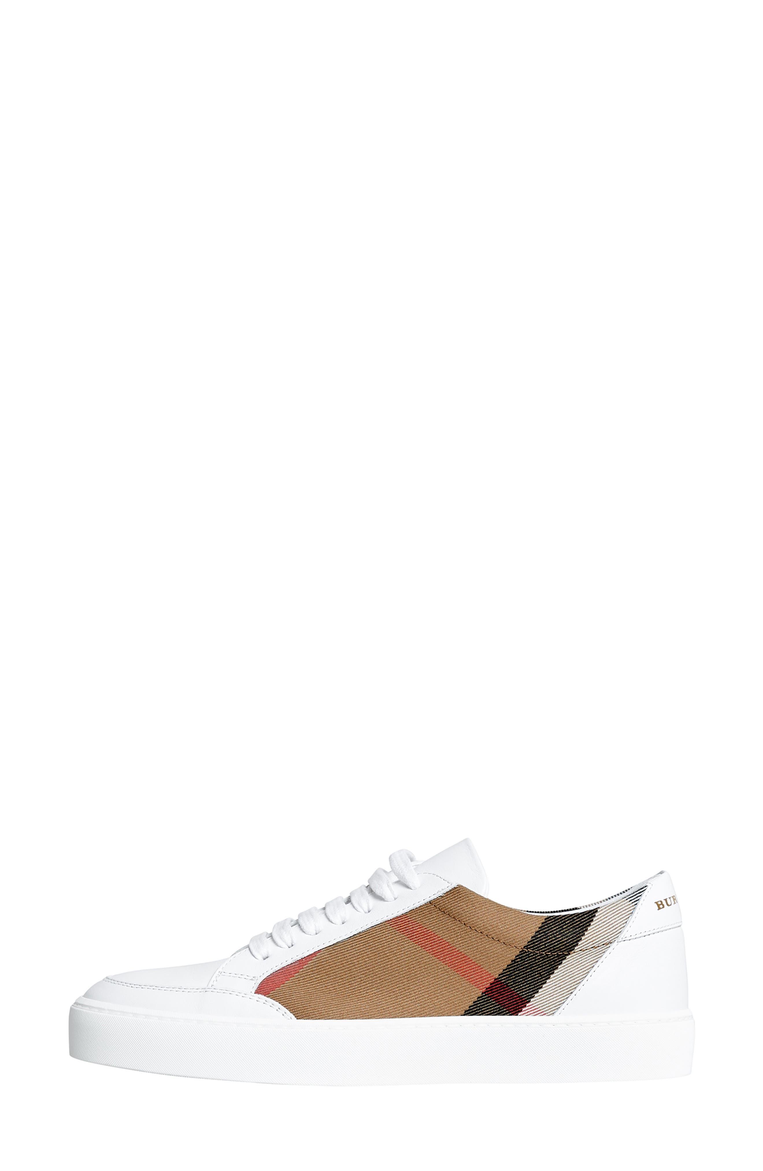 BURBERRY, Salmond Sneaker, Alternate thumbnail 10, color, WHITE