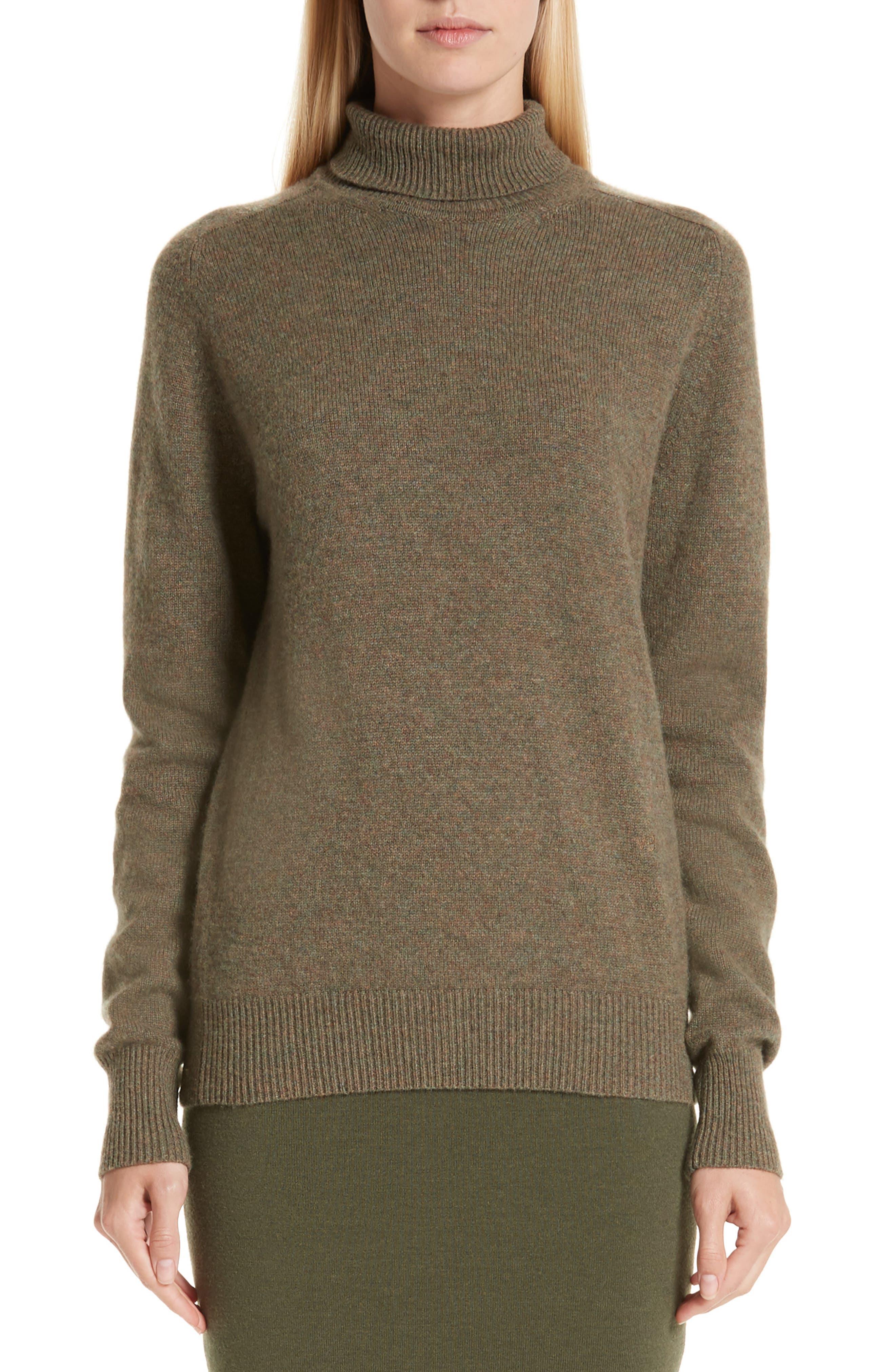 VICTORIA BECKHAM, Stretch Cashmere Turtleneck Sweater, Main thumbnail 1, color, OLIVE