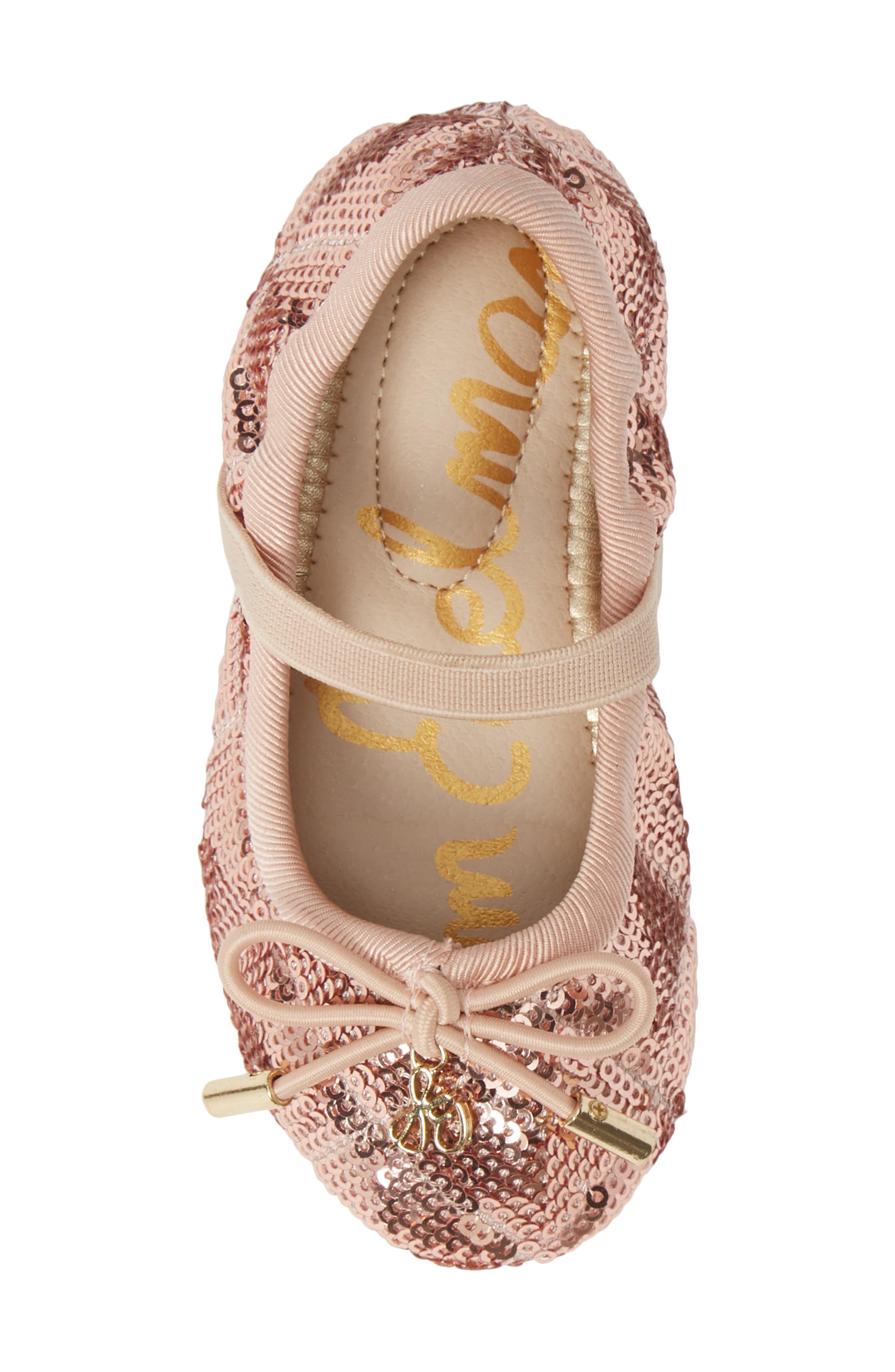 SAM EDELMAN, 'Felicia' Mary Jane Ballet Flat, Alternate thumbnail 5, color, ROSE GOLD