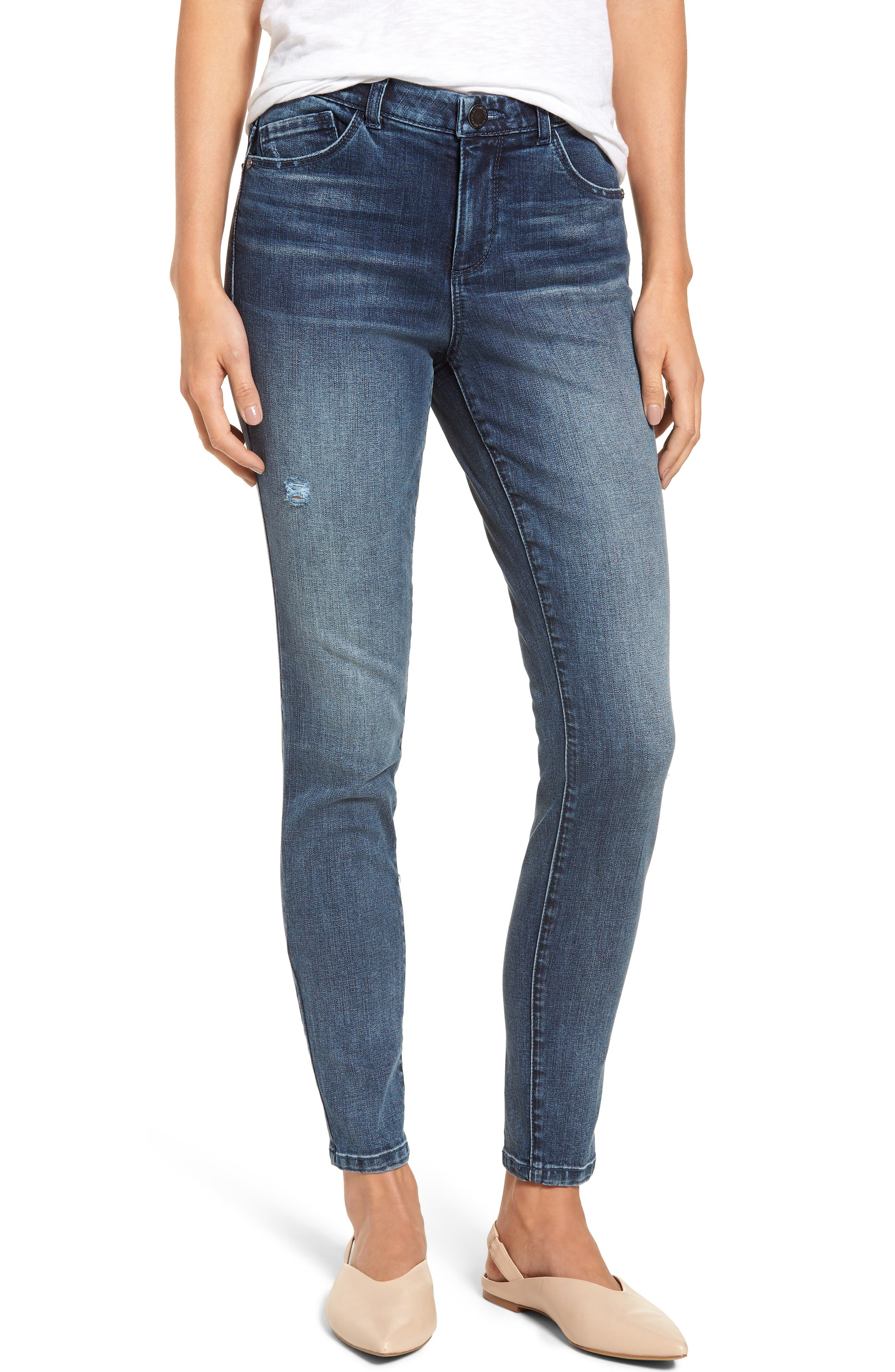 WIT & WISDOM, Ab-Solution High Waist Skinny Jeans, Main thumbnail 1, color, BLUE