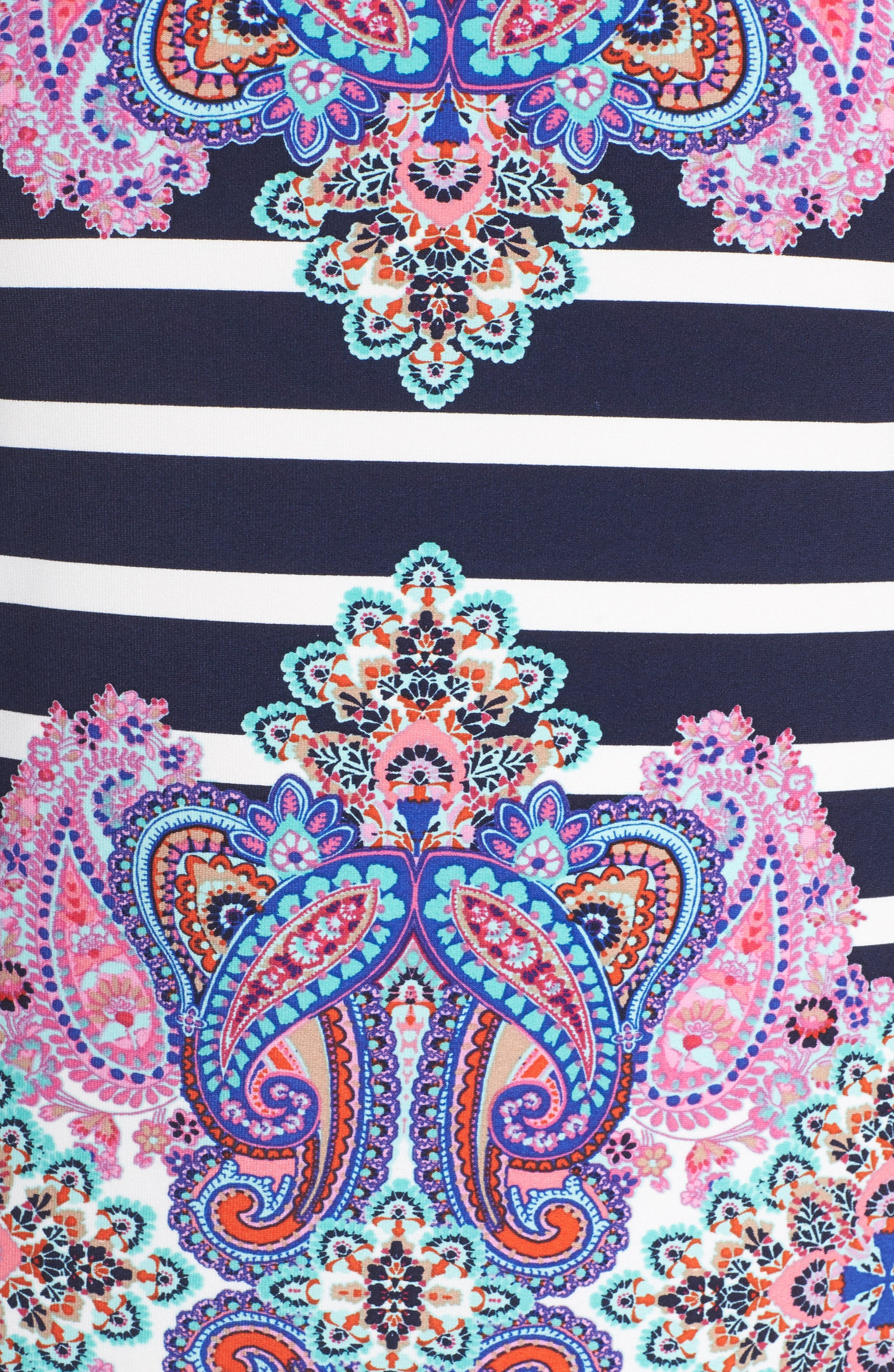ELIZA J, Stripe & Paisley Shift Dress, Alternate thumbnail 5, color, 698