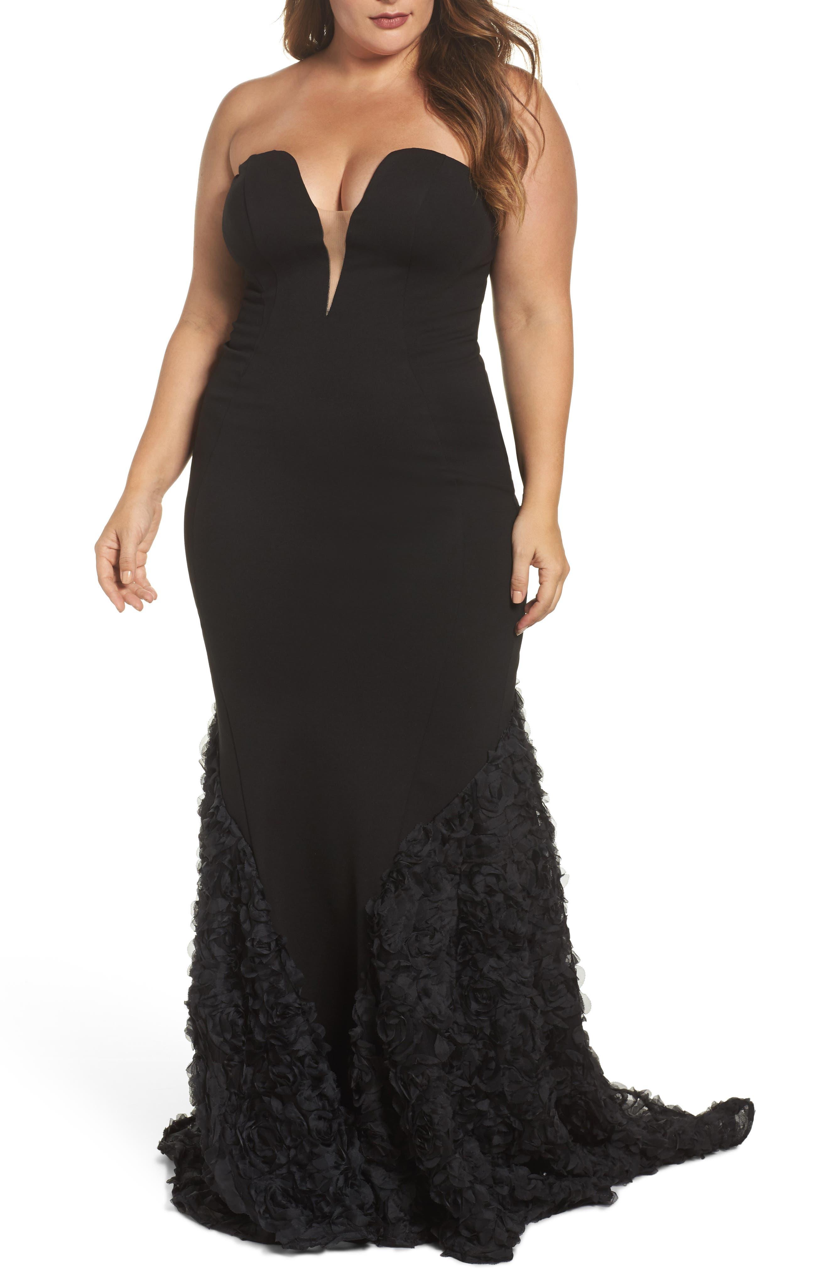 MAC DUGGAL, Strapless Bustier Rosette Gown, Main thumbnail 1, color, BLACK