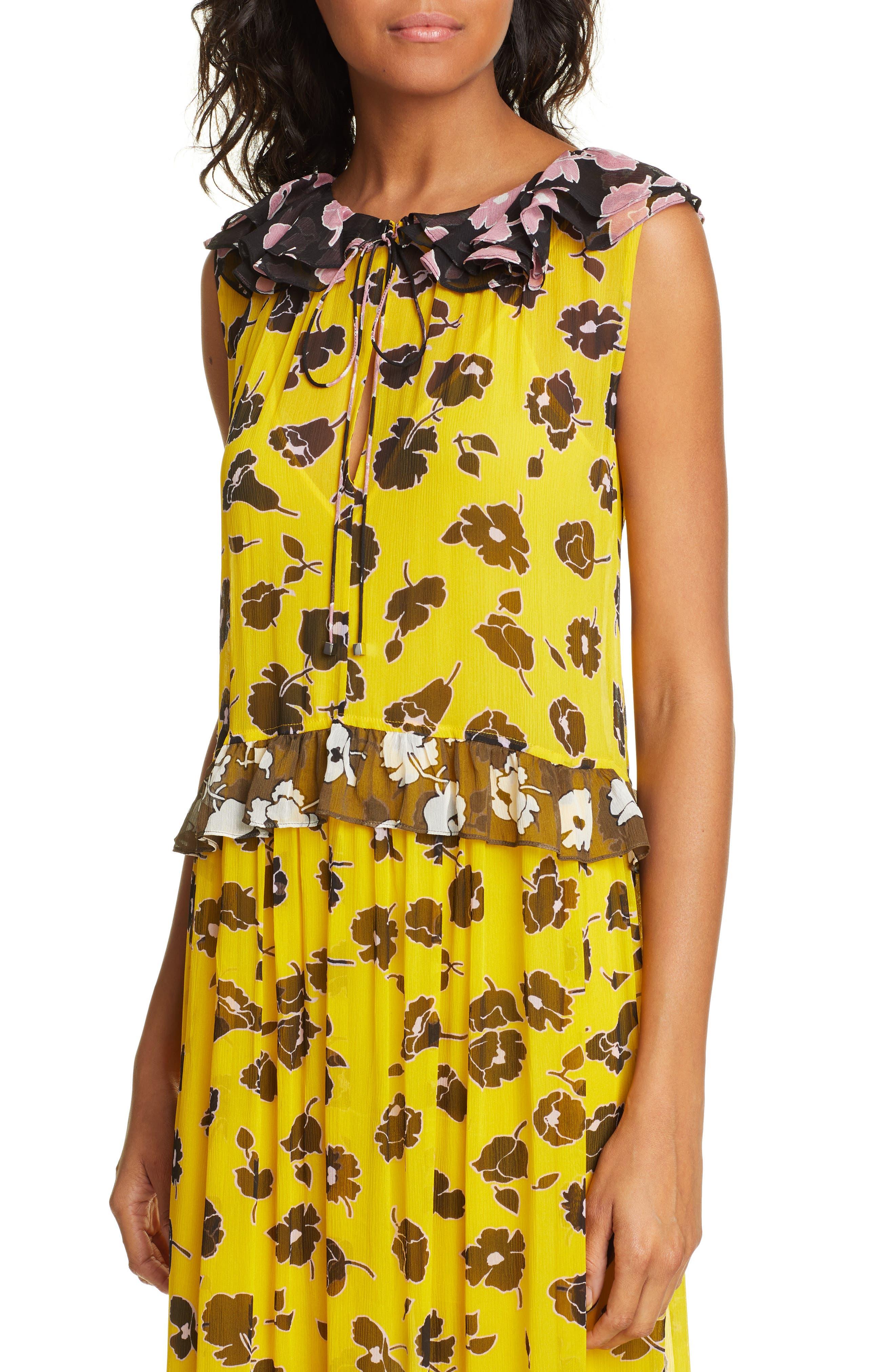 DVF, Drea Pattern Mix Tiered Silk Maxi Dress, Alternate thumbnail 4, color, ROSE SHOWERS GOLDENROD MULTI