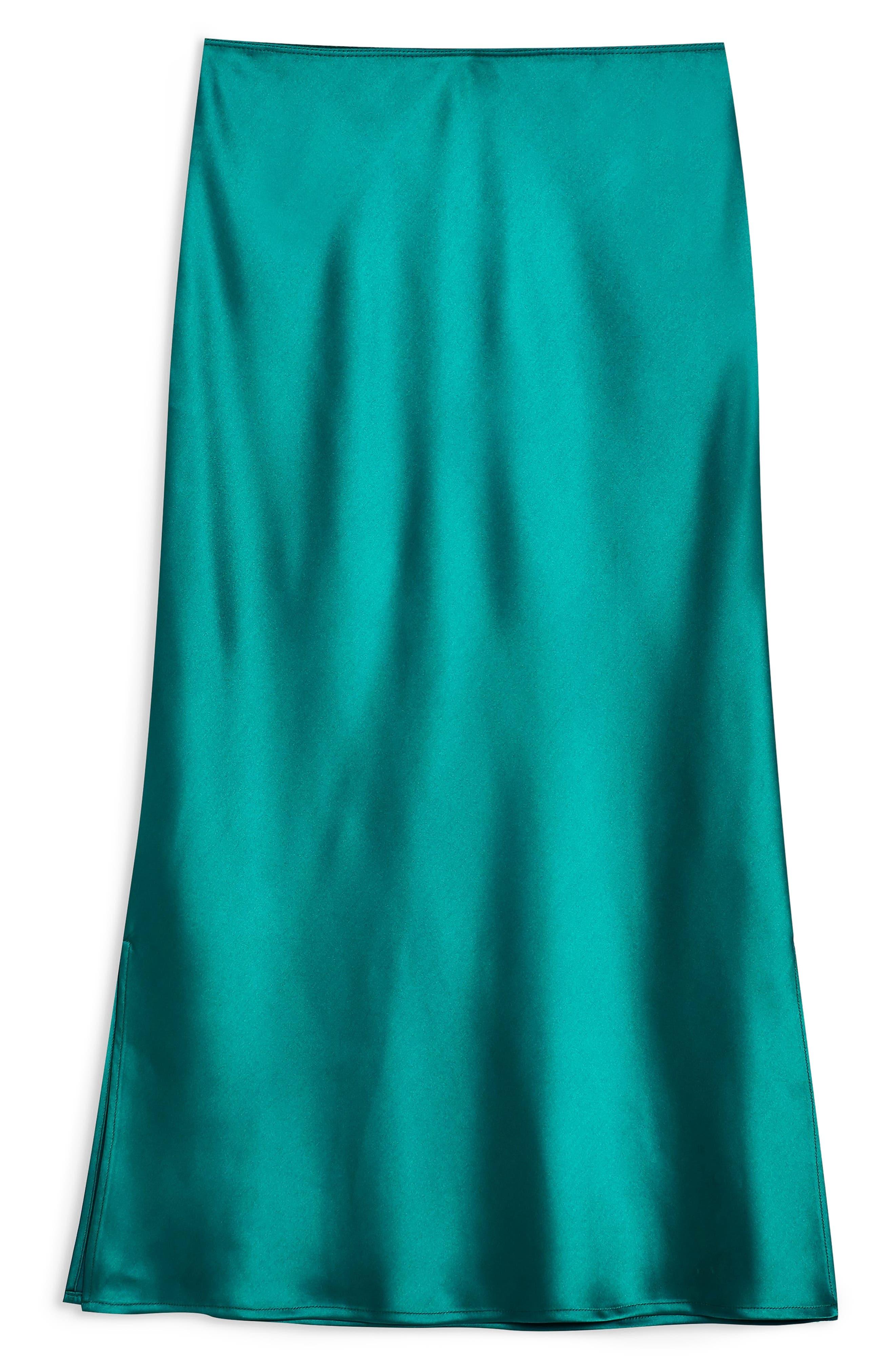 TOPSHOP, Split Side Bias Midi Skirt, Alternate thumbnail 3, color, EMERALD