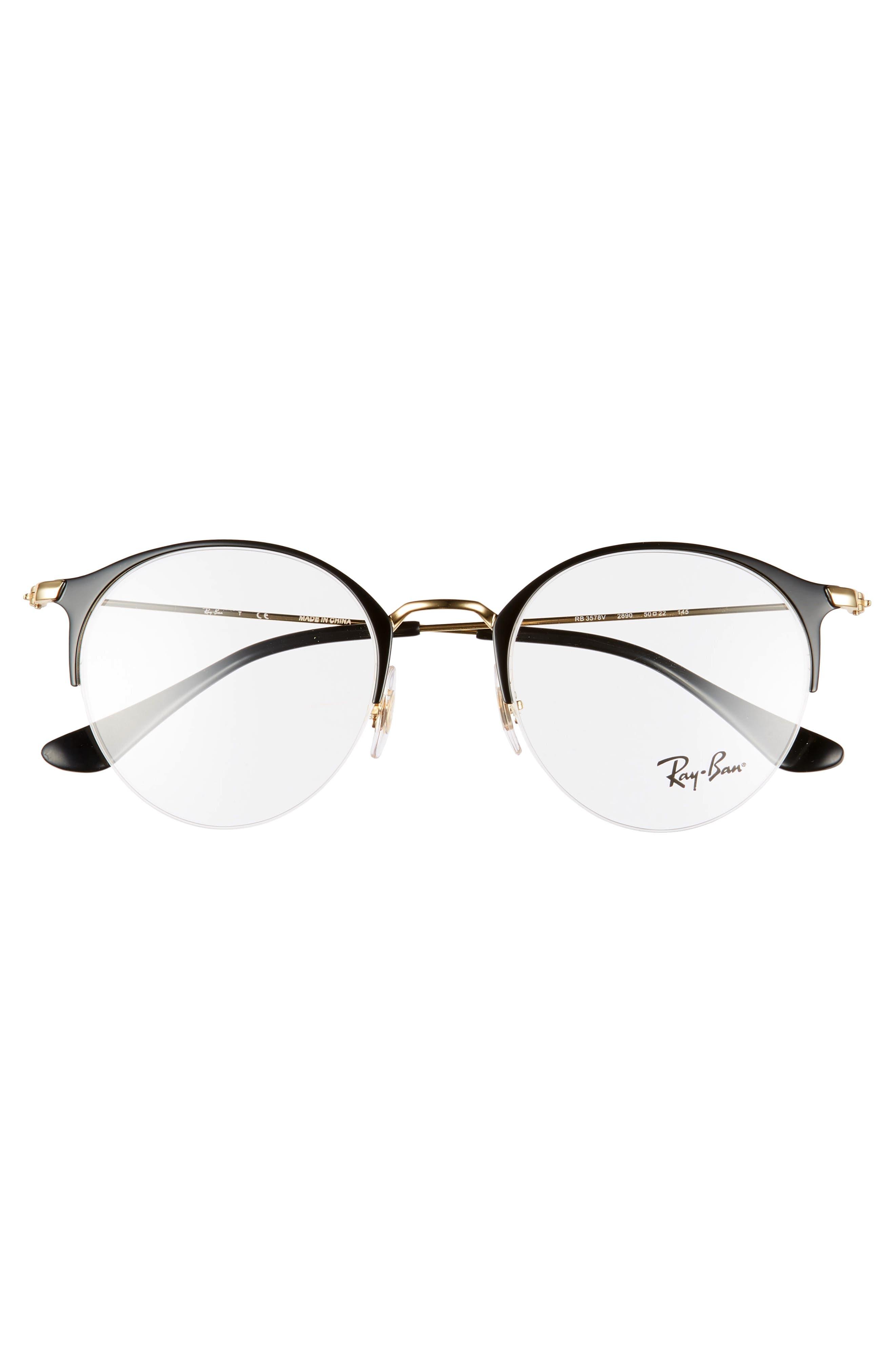 RAY-BAN, 50mm Optical Glasses, Alternate thumbnail 3, color, BLACK/ GOLD