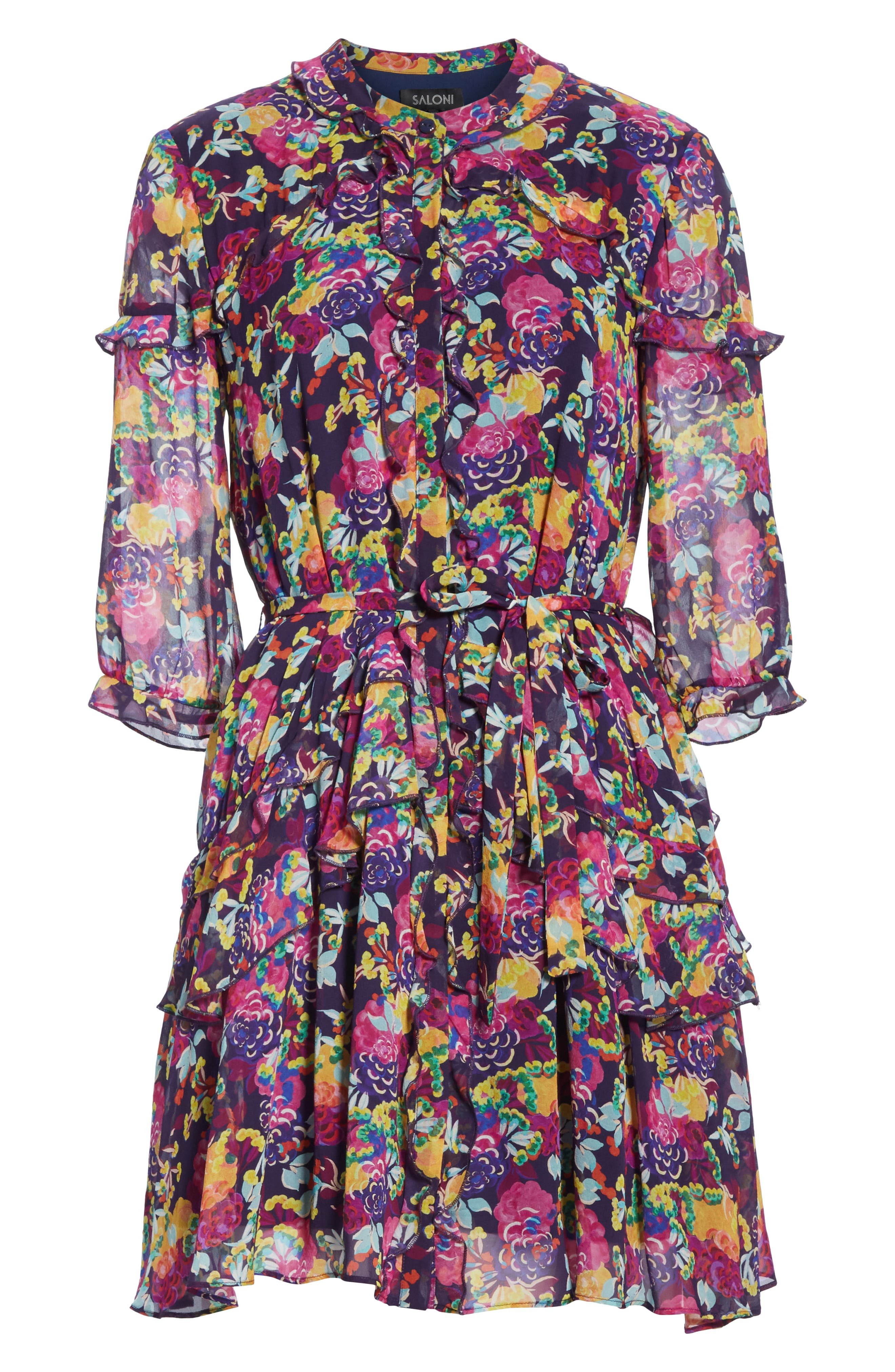 SALONI, Tilly Ruffle Silk Dress, Alternate thumbnail 6, color, CAMELLIA
