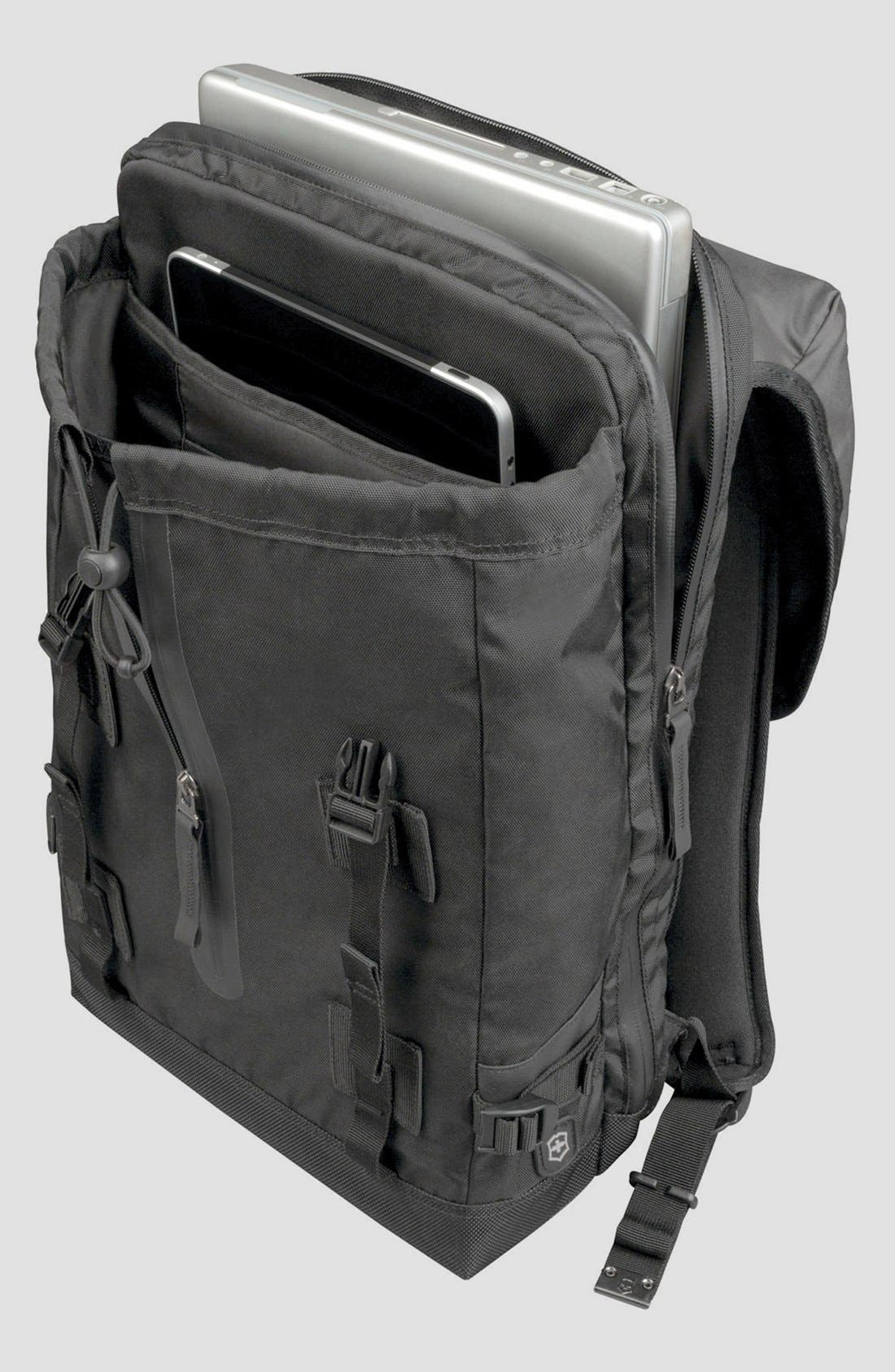 VICTORINOX SWISS ARMY<SUP>®</SUP>, Flapover Backpack, Alternate thumbnail 3, color, BLACK