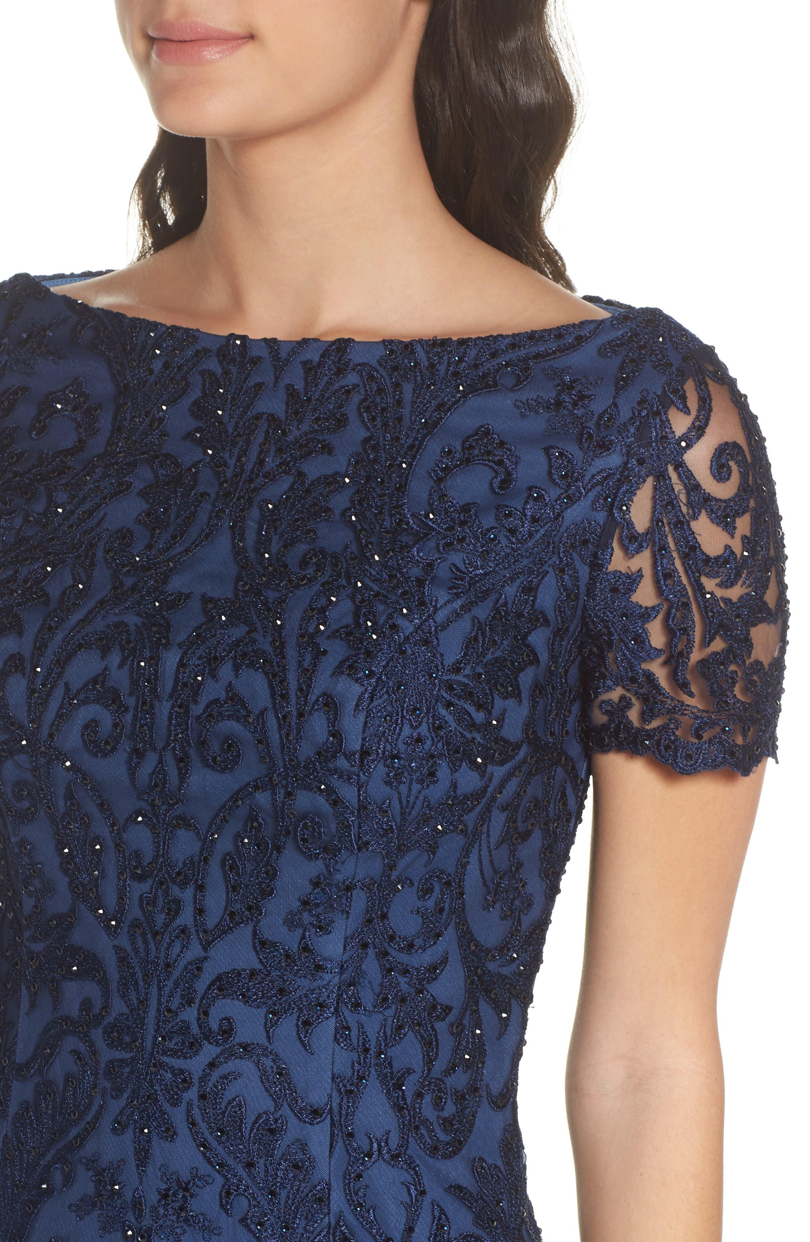 LA FEMME, Beaded Lace Sheath Dress, Alternate thumbnail 4, color, SLATE BLUE