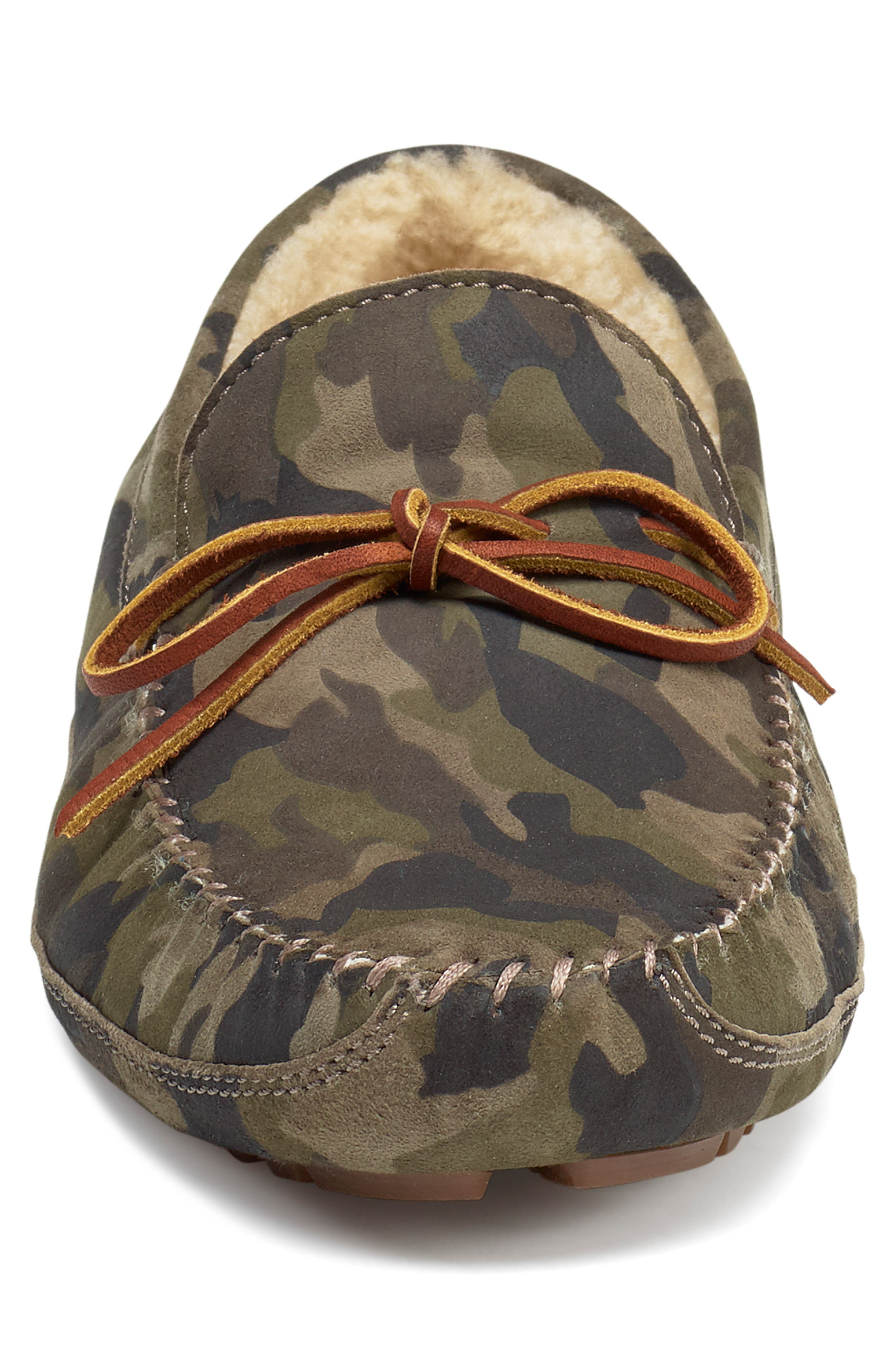 TRASK, 'Polson' Slipper, Alternate thumbnail 4, color, CAMO SUEDE/ SHEARLING