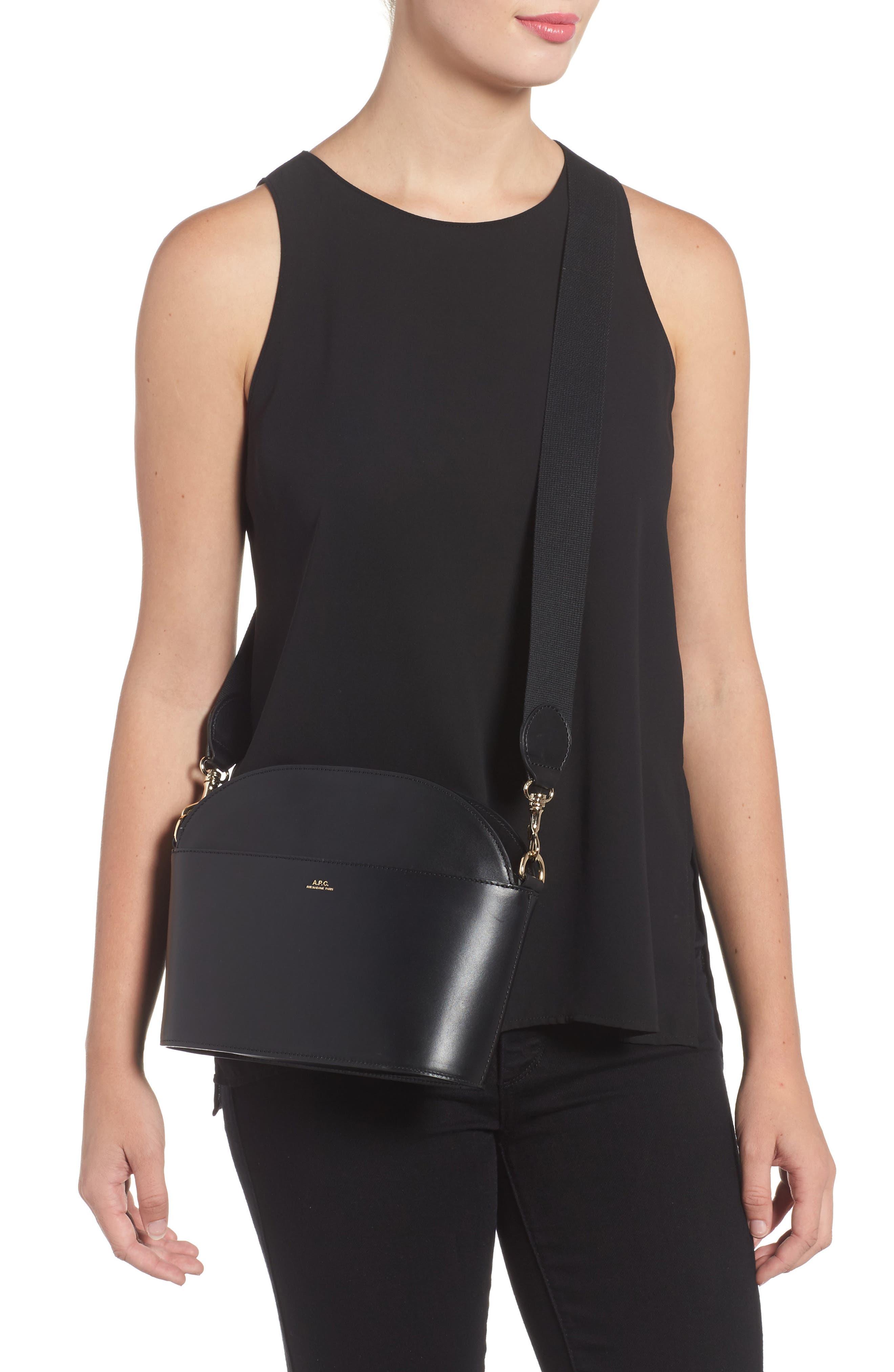 A.P.C., Gabrielle Leather Shoulder Bag, Alternate thumbnail 2, color, NOIR