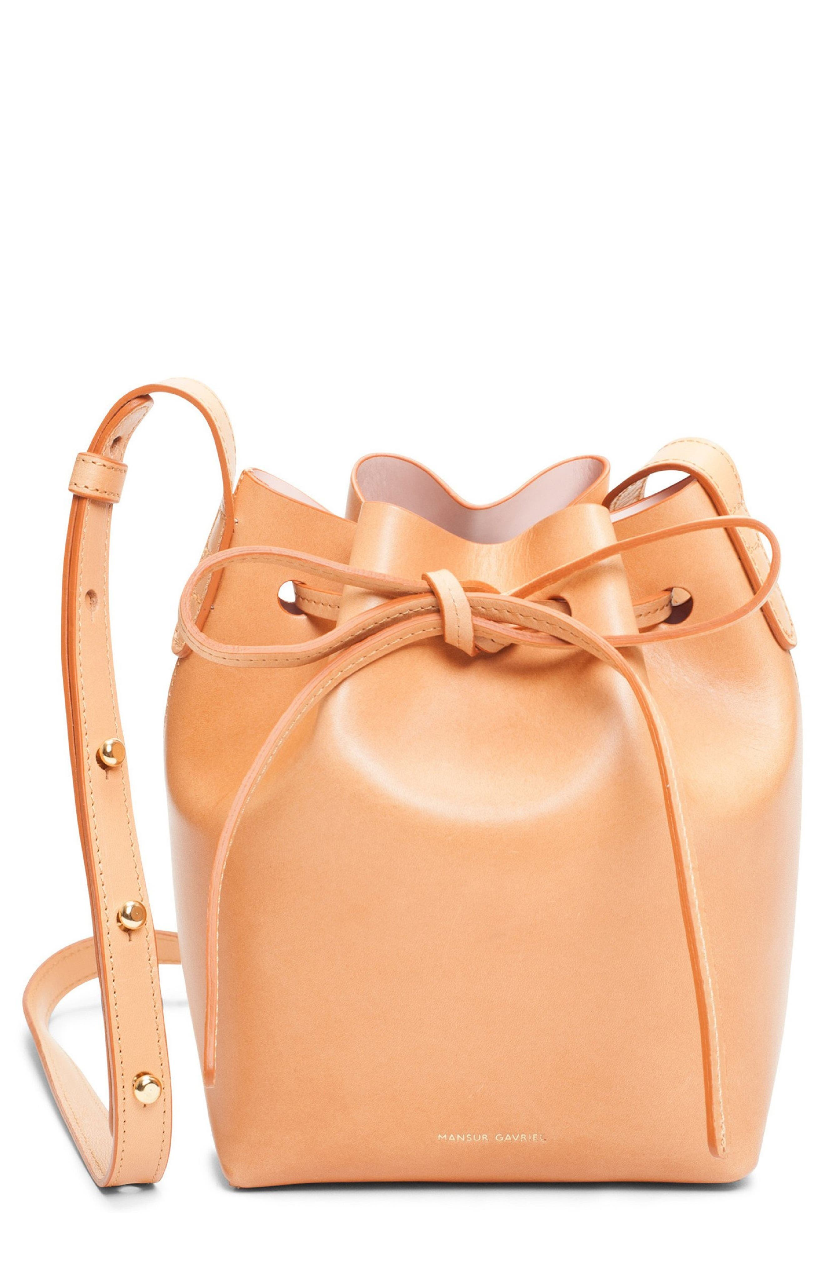 MANSUR GAVRIEL, Mini Mini Leather Bucket Bag, Main thumbnail 1, color, CAMMELLO/ ROSA