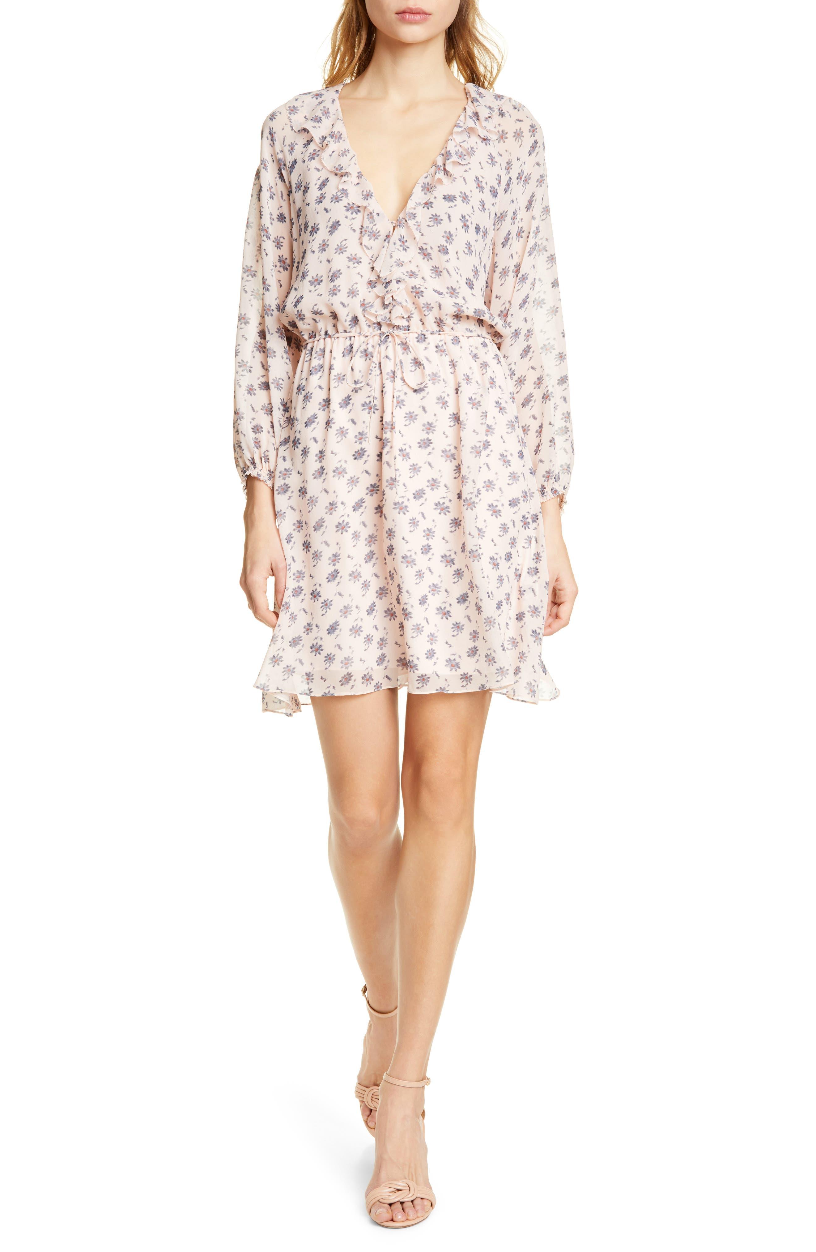 Joie Marelle Ruffle Neck Long Sleeve Silk Dress, Pink