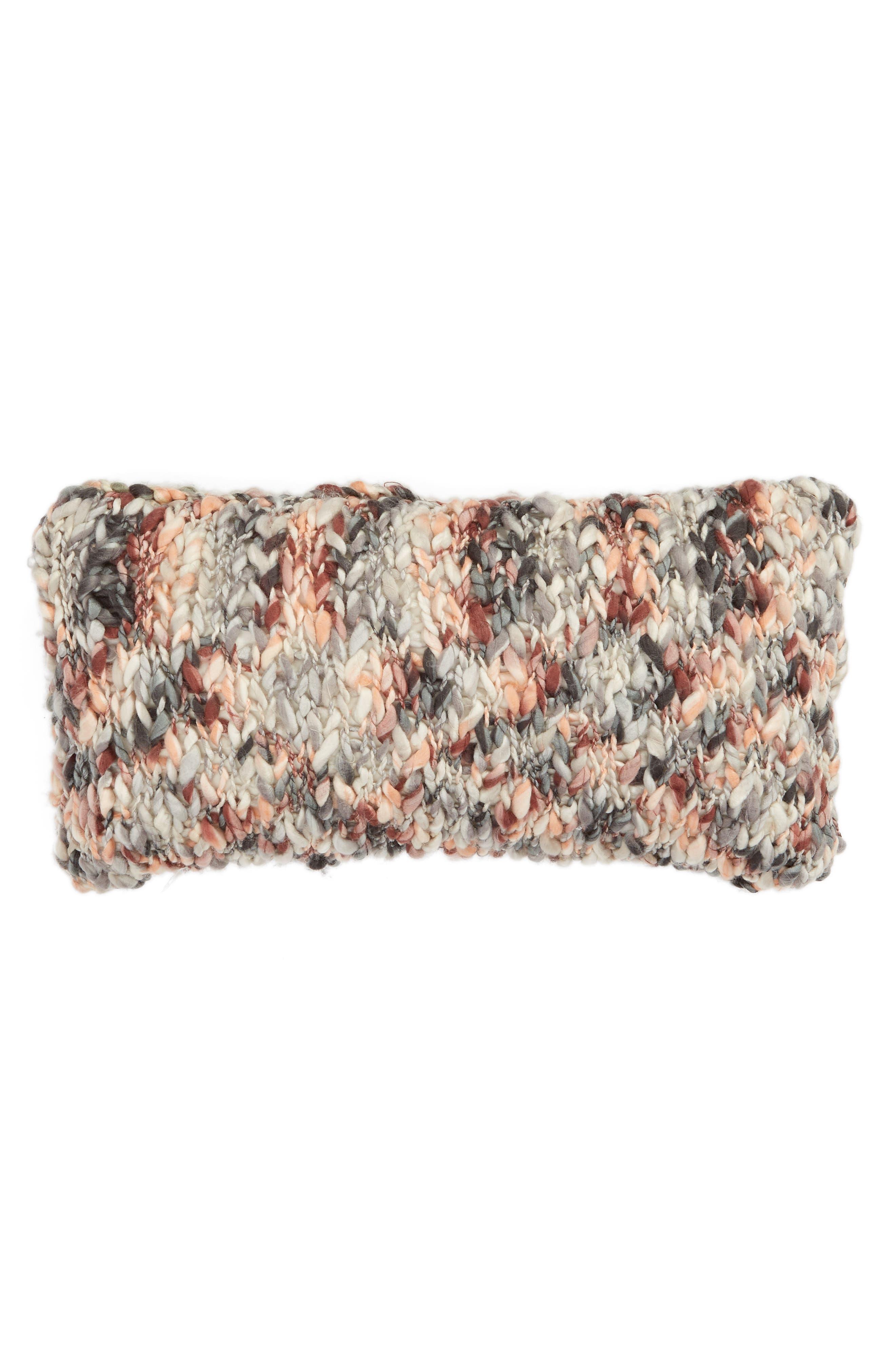 TREASURE & BOND, Slub Knit Accent Pillow, Main thumbnail 1, color, BROWN ROSE MULTI
