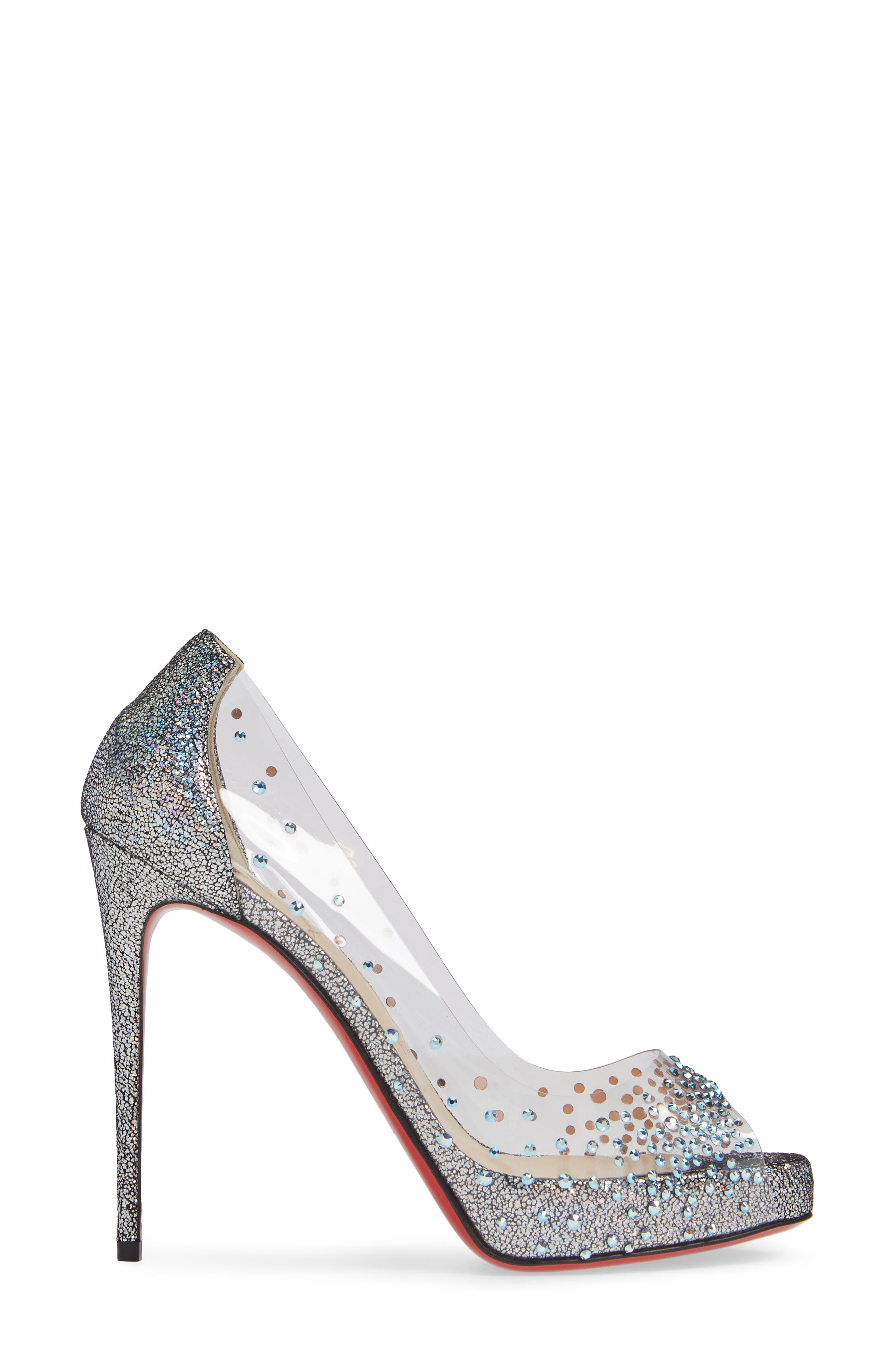 CHRISTIAN LOUBOUTIN, Very Strass Embellished Peep Toe Pump, Alternate thumbnail 3, color, SILVER
