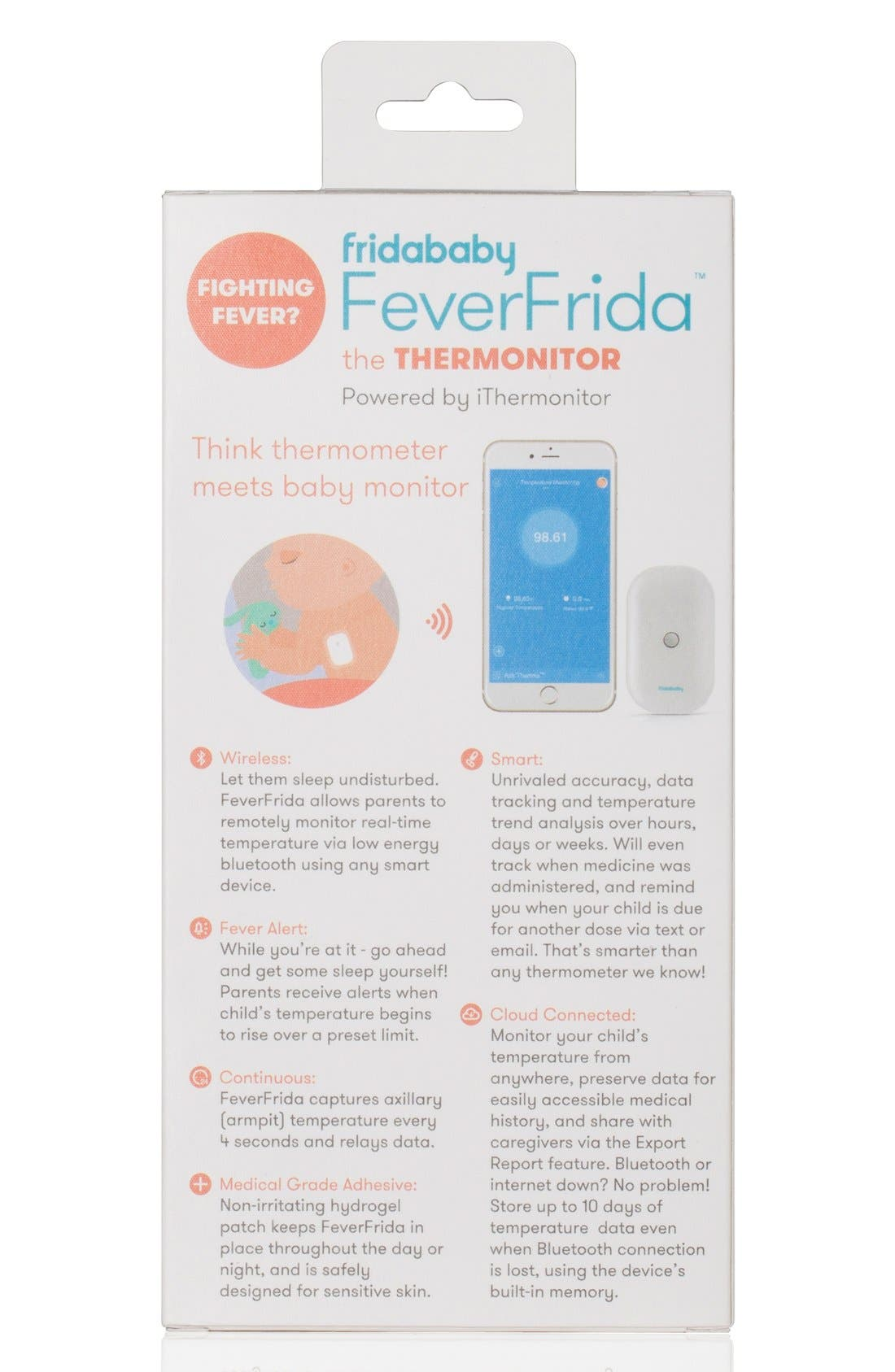 FRIDABABY, 'FeverFrida<sup>®</sup> - The Thermonitor' Bluetooth<sup>®</sup> Thermometer, Alternate thumbnail 2, color, WHITE