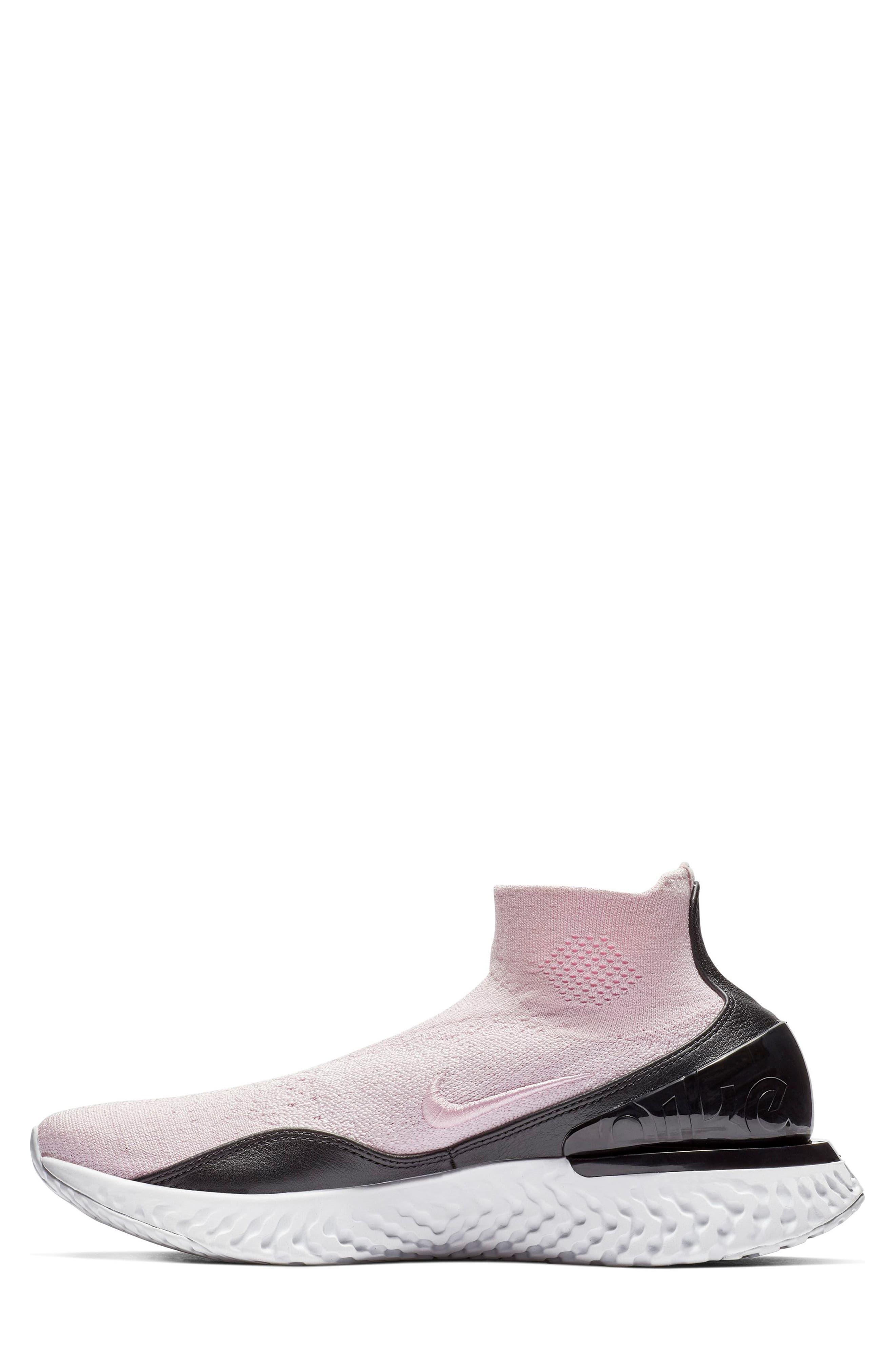 NIKE, Rise React FlyKnit Sneaker, Alternate thumbnail 3, color, PINK FOAM/ PINK FOAM/ BLACK