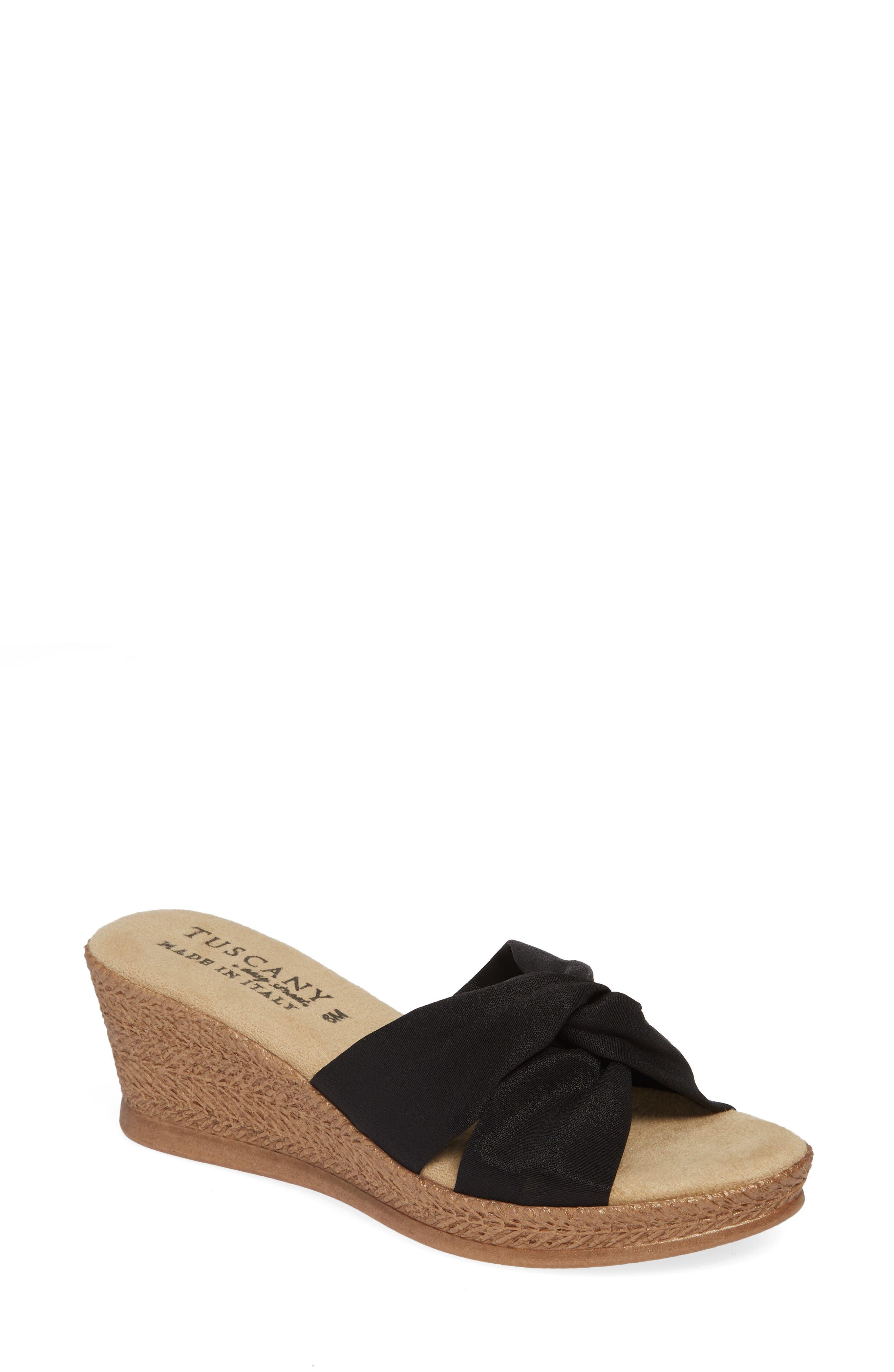 TUSCANY BY EASY STREET<SUP>®</SUP>, Dinah Platform Wedge Sandal, Main thumbnail 1, color, BLACK FABRIC