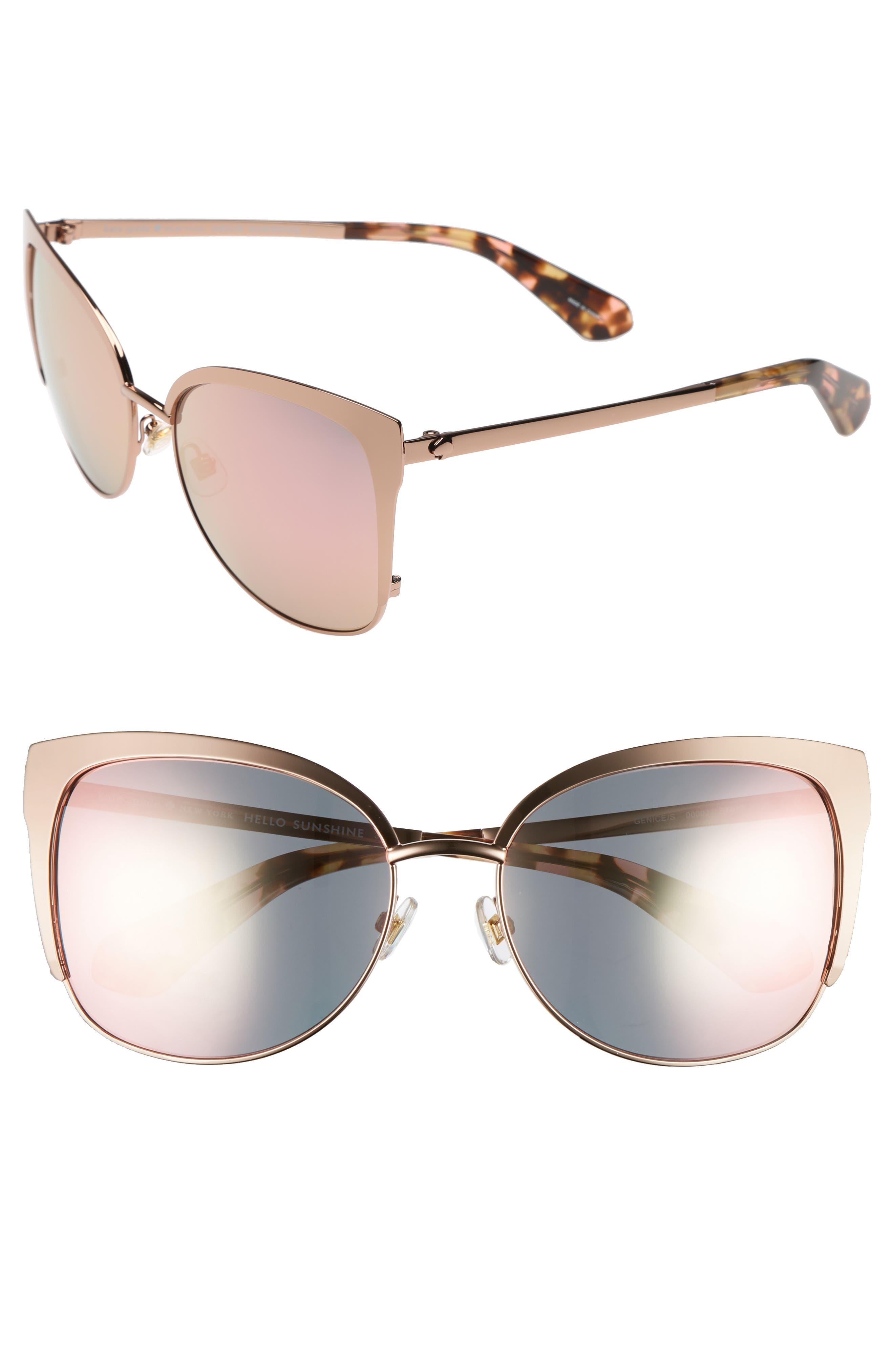 KATE SPADE NEW YORK, 'genice' 57mm cat-eye sunglasses, Main thumbnail 1, color, 710