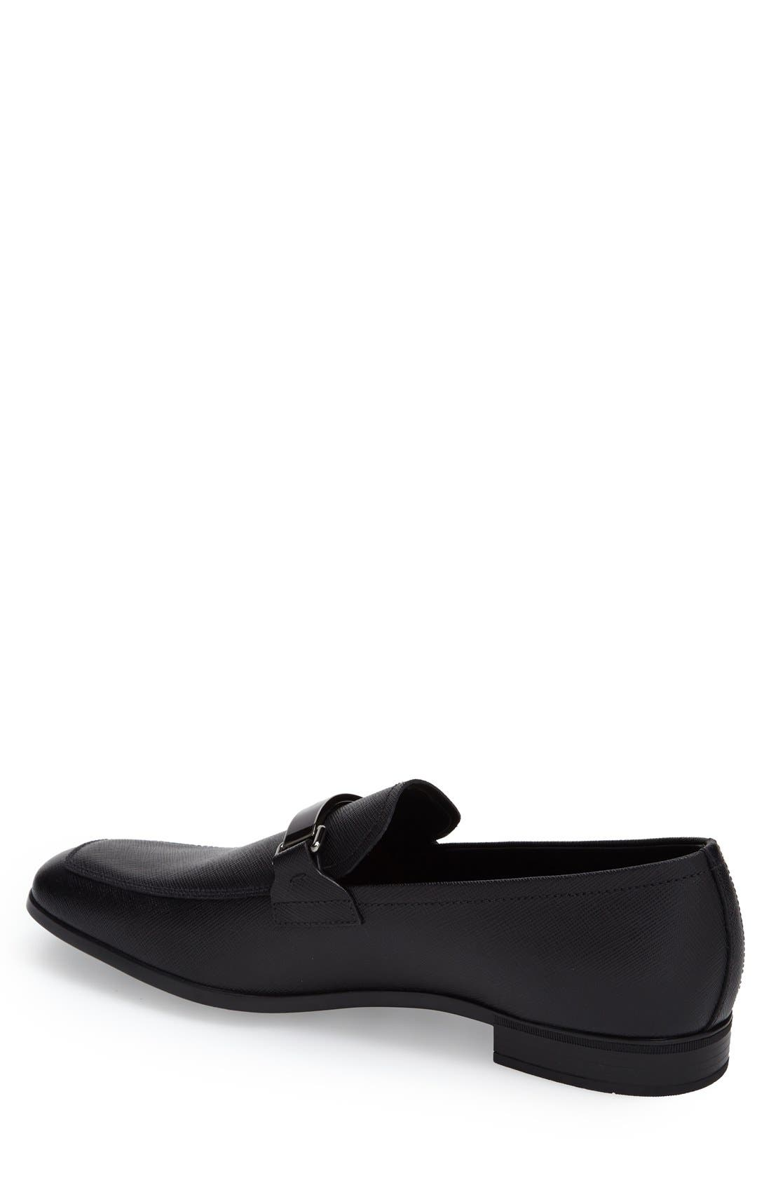 PRADA, Saffiano Leather Bit Loafer, Alternate thumbnail 2, color, NERO LEATHER