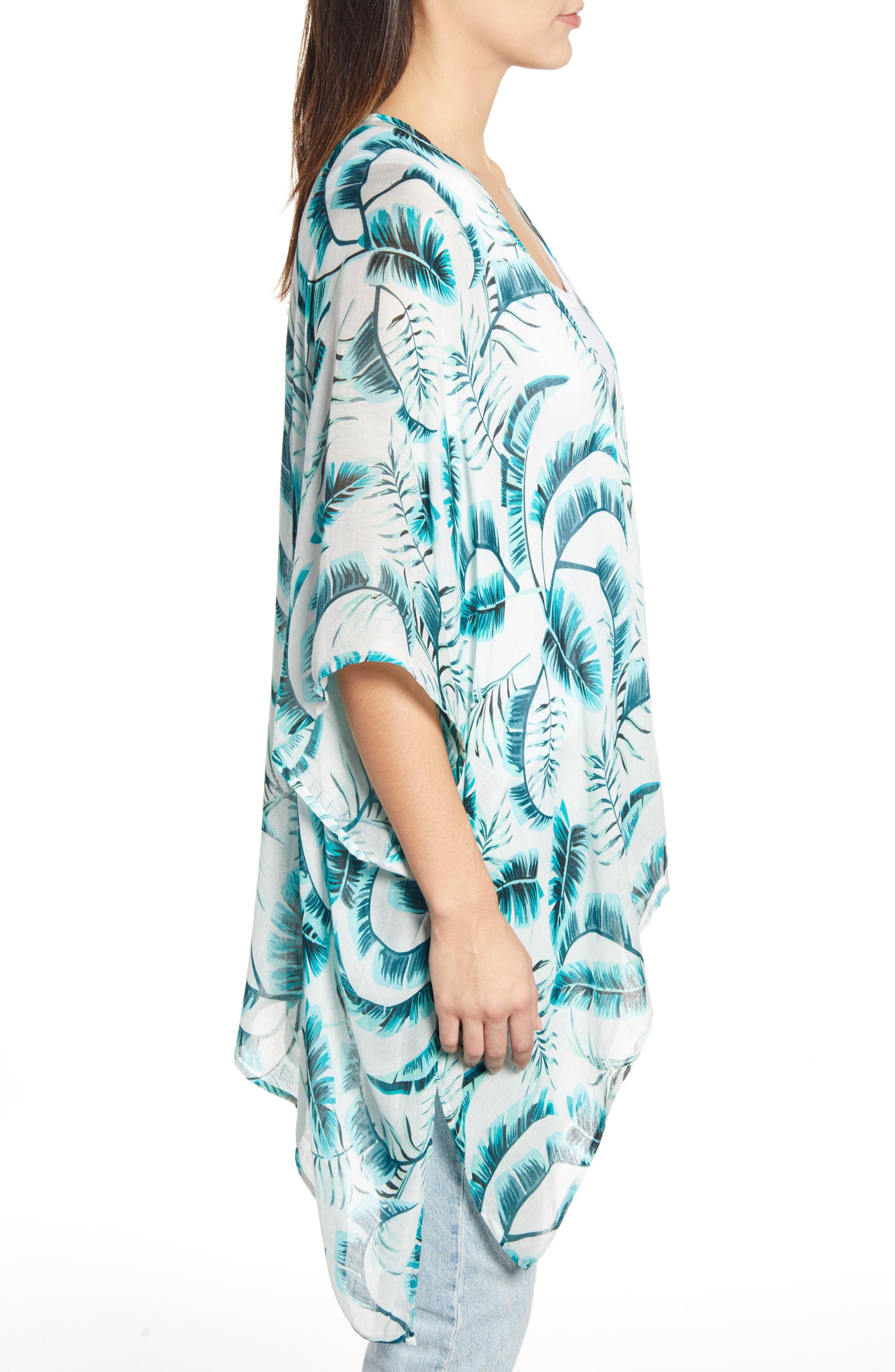 ECHO, Palm Leaf Kimono, Alternate thumbnail 3, color, EMERALD SEA