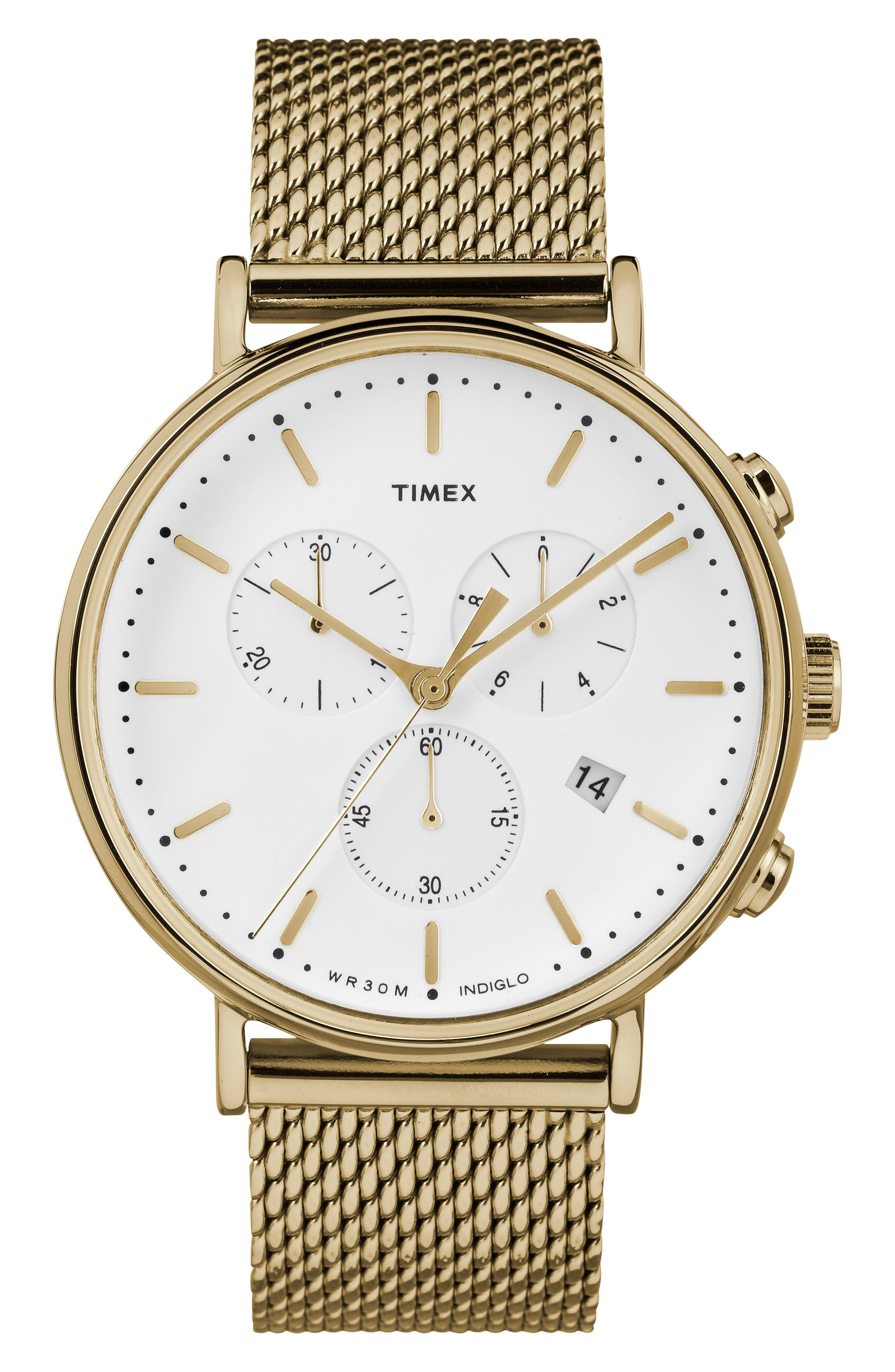 TIMEX<SUP>®</SUP>, Fairfield Chronograph Mesh Strap Watch, 41mm, Main thumbnail 1, color, GOLD/ WHITE/ GOLD