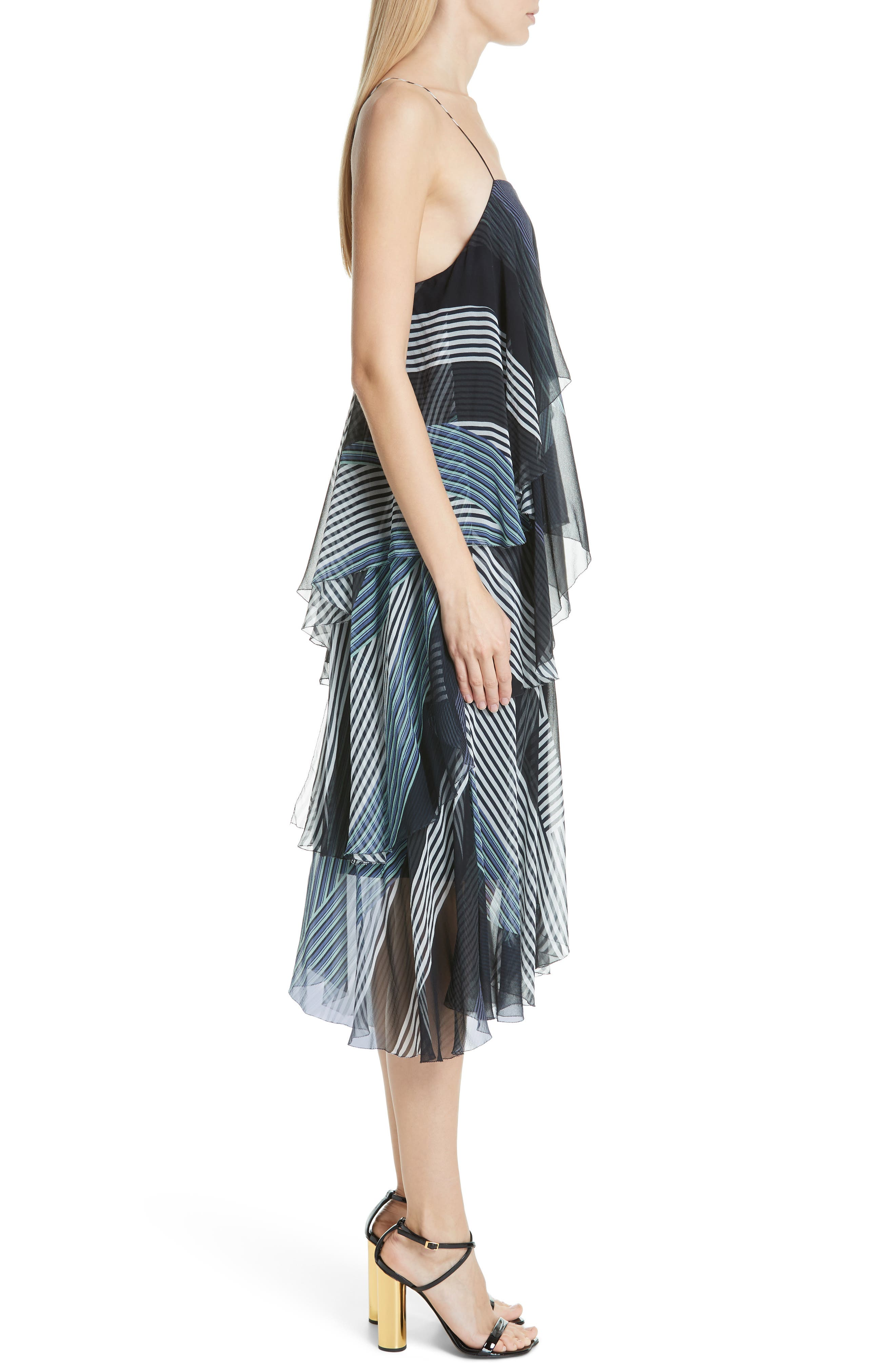 JASON WU, Collage Stripe Silk Tiered Dress, Alternate thumbnail 3, color, DARK NAVY MULTI