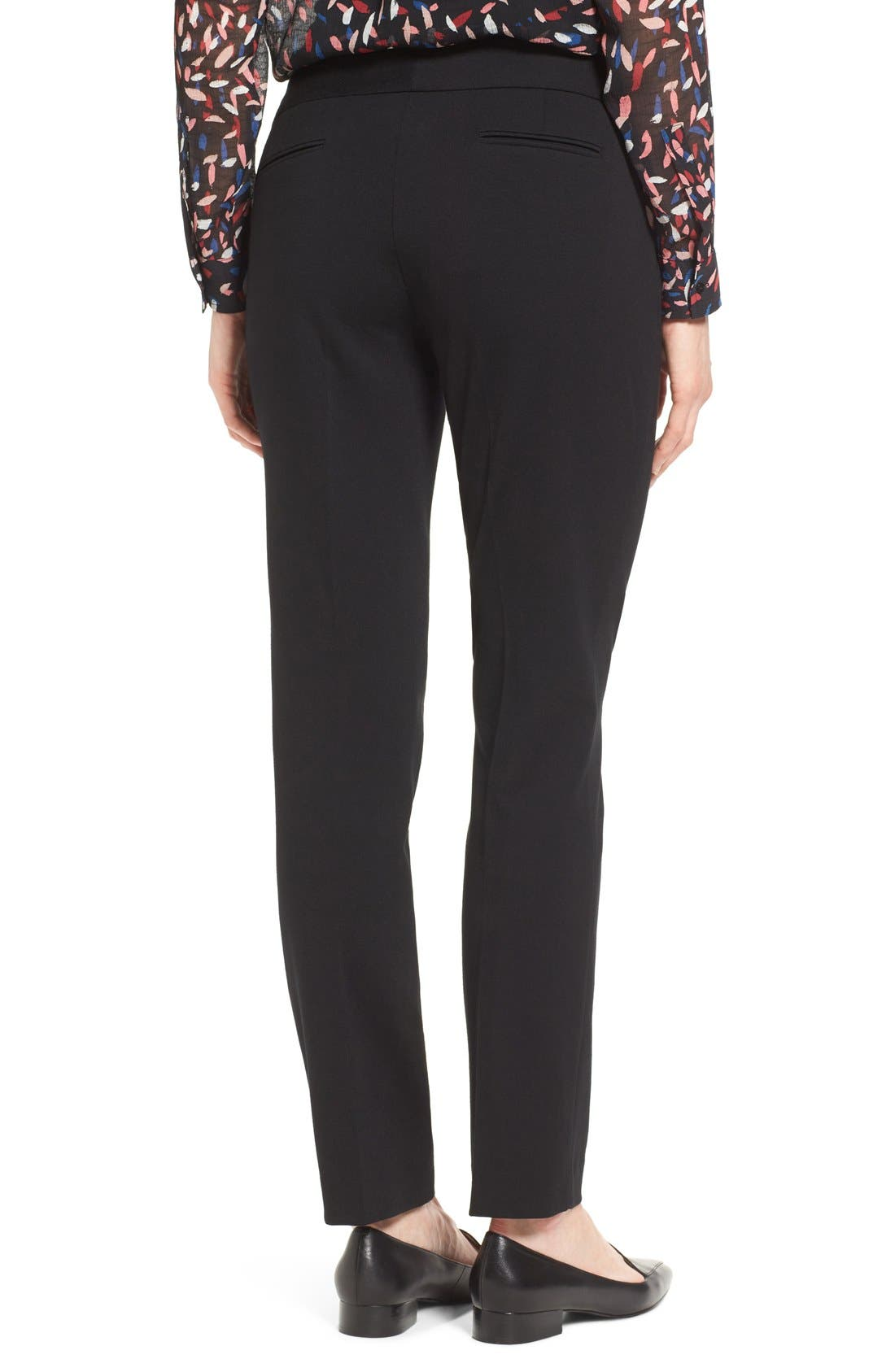VINCE CAMUTO, Ponte Ankle Pants, Alternate thumbnail 2, color, BLACK