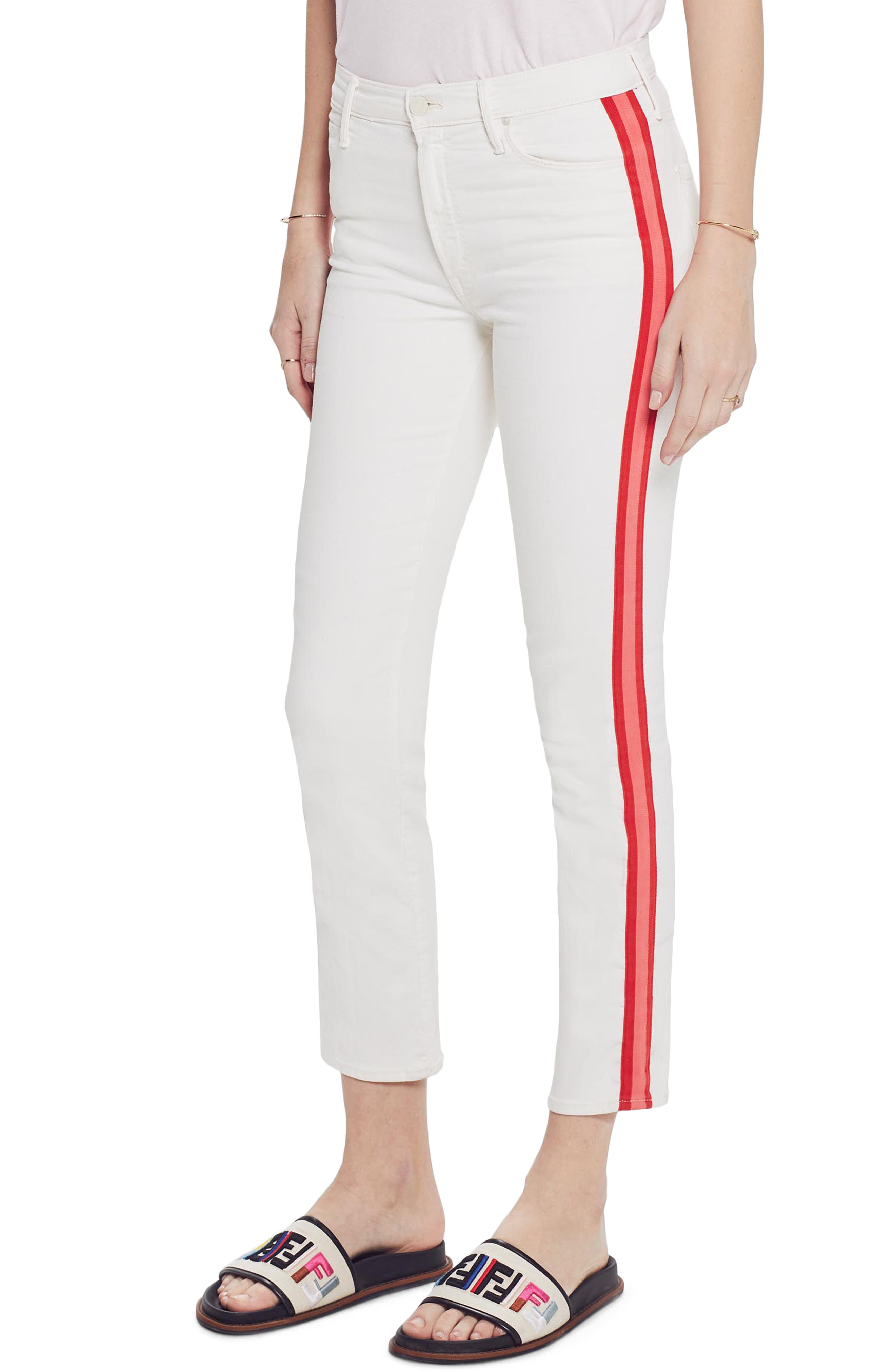 MOTHER, The Dazzler Mid Rise Crop Slim Jeans, Main thumbnail 1, color, WHIPPING THE CREAM PINK RACER